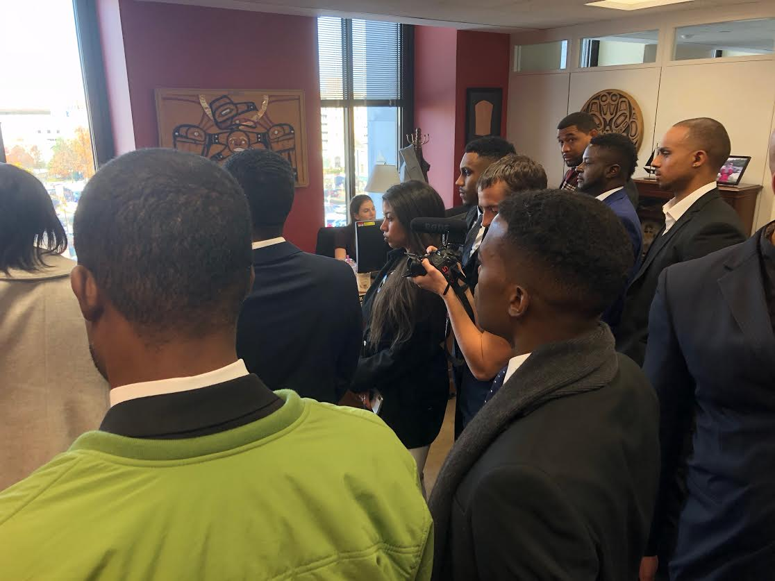 "African-American conservatives gather in Republican Sen. Lisa Murkowski's office on Wednesday, Nov. 28, to lobby in favor of the ""First Step Act""."