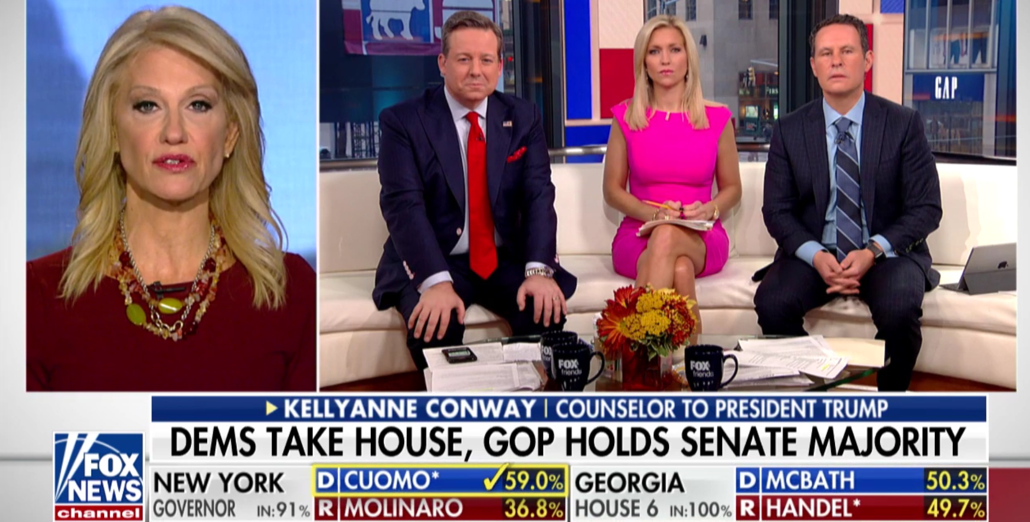 Kellyanne Conway appears on Fox & Friends to discuss midterm election results, Nov. 7, 2018. Fox News screenshot.