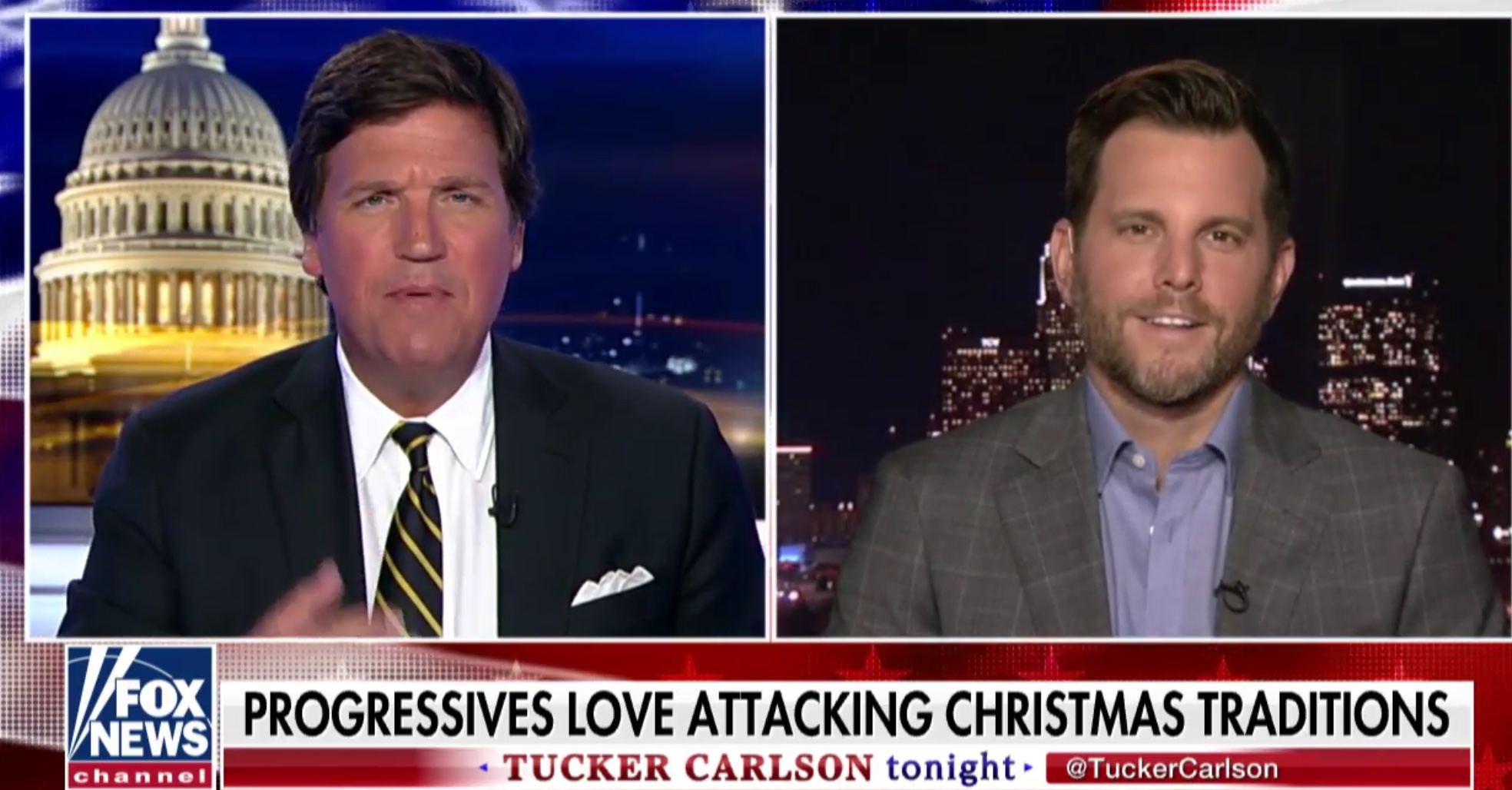 "Tucker Carlson and Dave Rubin discuss ""Rudolf the Red Nosed Reindeer"" on ""Tucker Carlson Tonight,"" Nov. 29, 2018. Fox News screenshot."