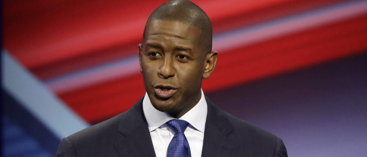 Florida Democratic gubernatorial candidate Andrew Gillum speaks during a CNN debate against Republican gubernatorial candidate Ron DeSantis, Sunday, Oct. 21, 2018, in Tampa, Fla. (Chris O'Meara-Pool/Getty Images)