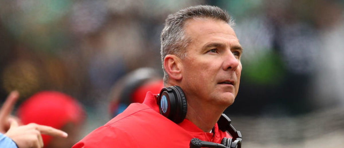 EAST LANSING, MI - NOVEMBER 10: Head coach Urban Meyer of the Ohio State Buckeyes looks on while playing the Michigan State Spartans at Spartan Stadium on November 10, 2018 in East Lansing, Michigan. (Photo by Gregory Shamus/Getty Images)