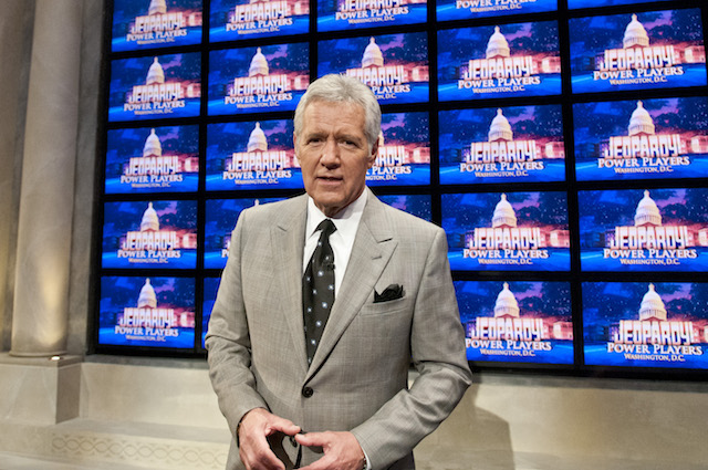 Alex Trebek speaks during a rehearsal before a taping of Jeopardy! Power Players Week at DAR Constitution Hall on April 21, 2012 in Washington, DC. (Photo by Kris Connor/Getty Images)