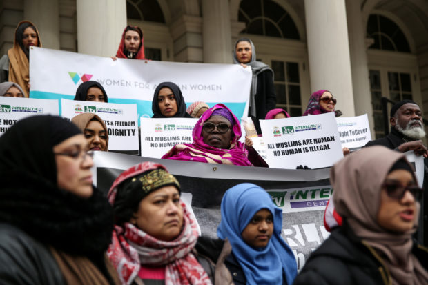 Muslim American women take part in a World Hijab Day rally held in front of New York City Hall in Manhattan, New York, U.S., February 1, 2018. REUTERS/Amr Alfiky