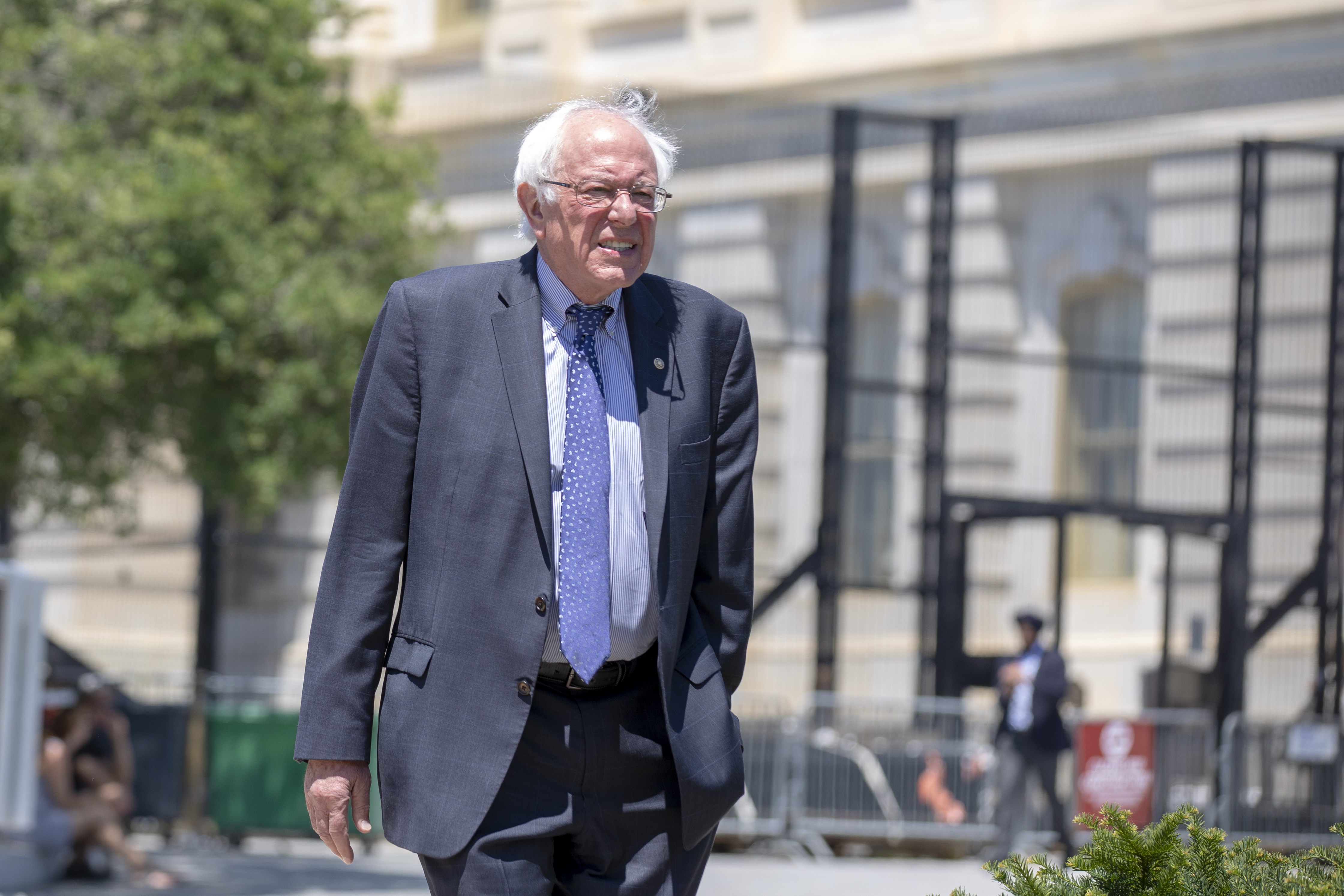 Sen. Bernie Sanders (I-VT) arrives at a news conference regarding the separation of immigrant children at the U.S. Capitol on July 10, 2018 in Washington, DC. (Alex Edelman/Getty Images)
