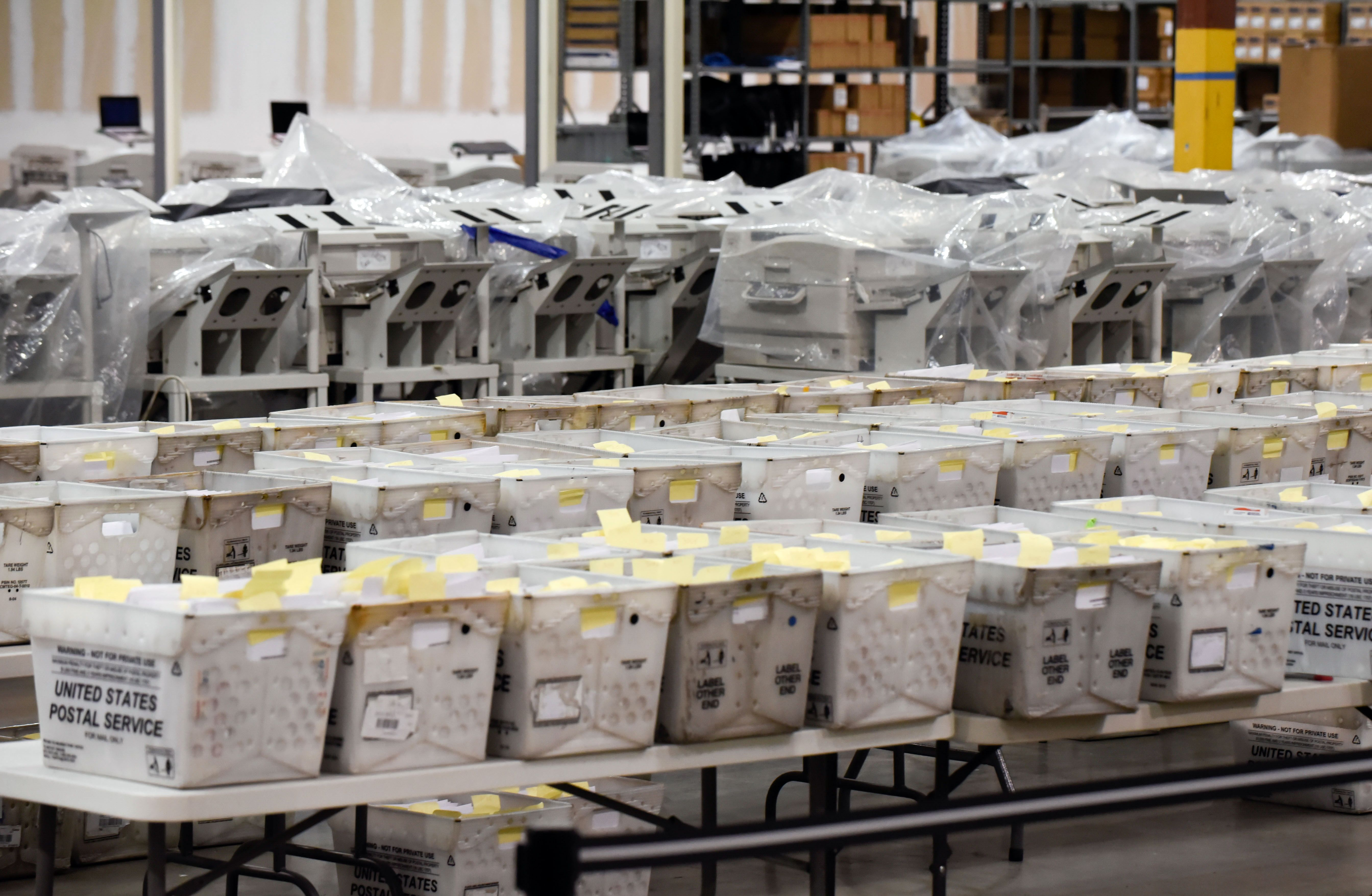 Ballot await recounting on November 15, 2018, in West Palm Beach, Florida. - Bucher spoke regarding reconciling votes already counted after a machine broke down. Final results have yet to be declared in multiple races following last week's midterm polls, with tense recounts underway in Florida. (MICHELE EVE SANDBERG/AFP/Getty Images)