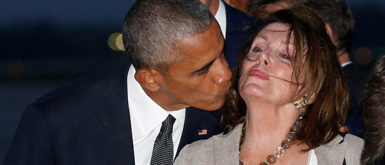 President Barack Obama kisses House Democratic leader Nancy Pelosi upon their return from Israel to Joint Base Andrews in Washington September 30, 2016. REUTERS/Kevin Lamarque