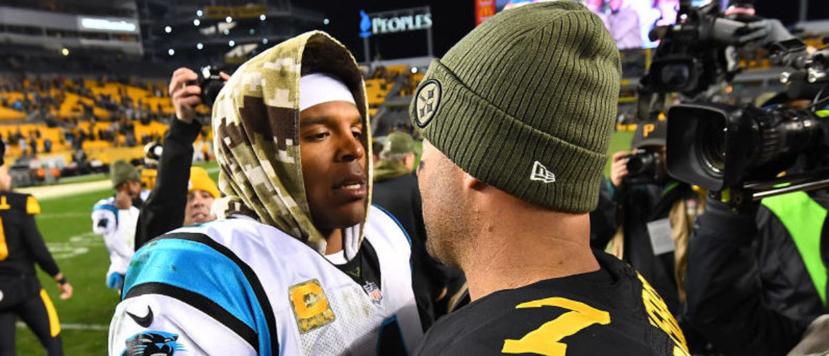 PITTSBURGH, PA - NOVEMBER 08: Ben Roethlisberger #7 of the Pittsburgh Steelers shakes hands with Cam Newton #1 of the Carolina Panthers at the conclusion of a 52-21 win by the Pittsburgh Steelers at Heinz Field on November 8, 2018 in Pittsburgh, Pennsylvania. (Photo by Joe Sargent/Getty Images)