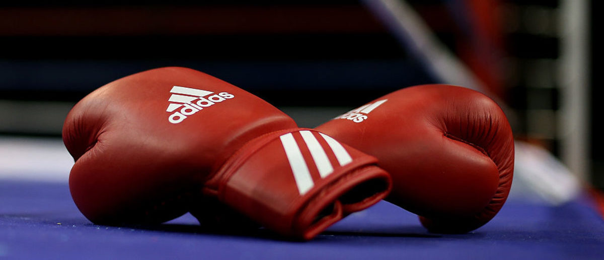 LIVERPOOL, ENGLAND - APRIL 29: A detailed view of the boxing gloves ringside during day one of the Boxing Elite National Championships at Echo Arena on April 29, 2016 in Liverpool, England. (Photo by Jan Kruger/Getty Images)