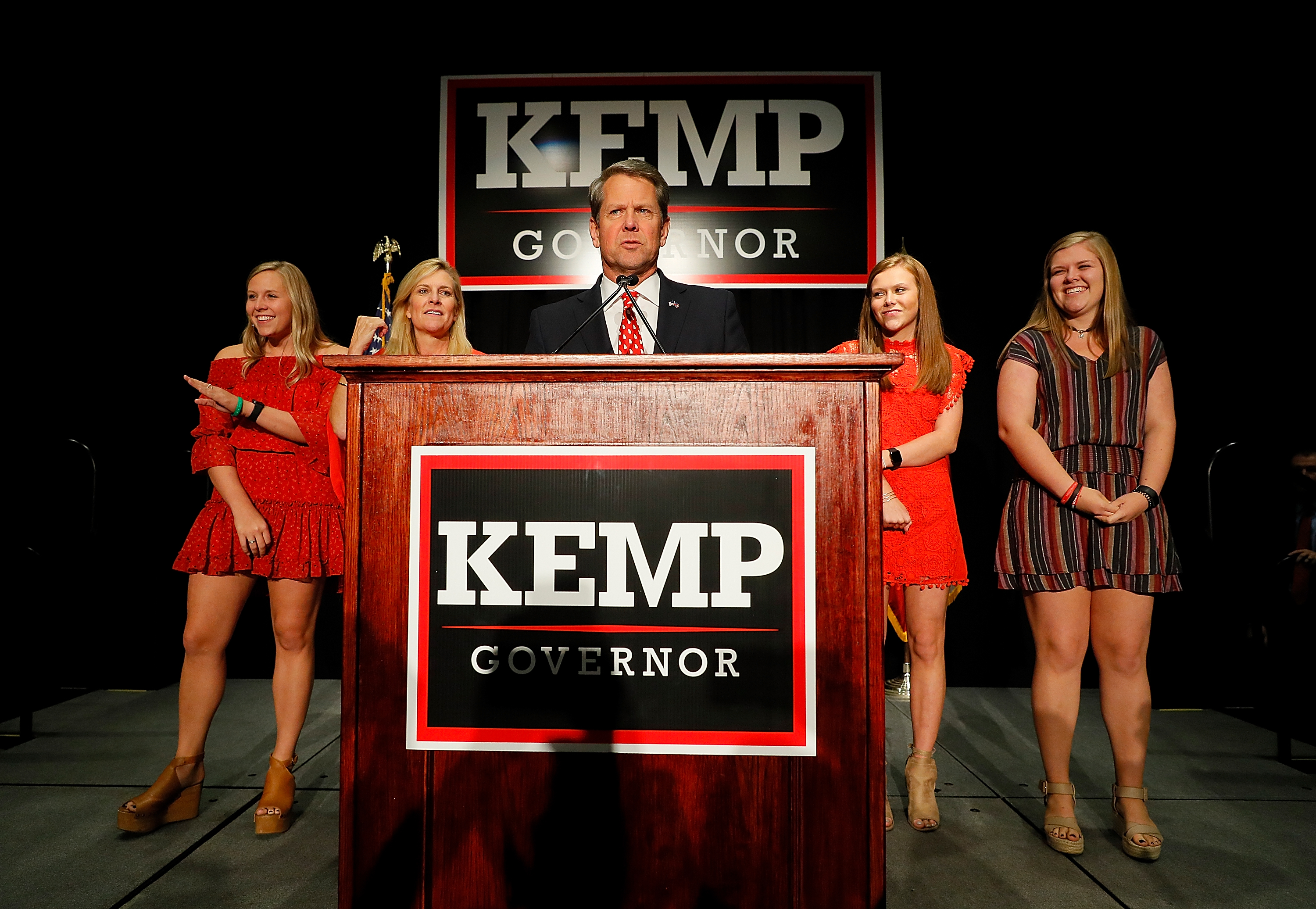 ATHENS, GA - NOVEMBER 06: Republican gubernatorial candidate Brian Kemp attends the Election Night event at the Classic Center on November 6, 2018 in Athens, Georgia. (Kevin C. Cox/Getty Images)