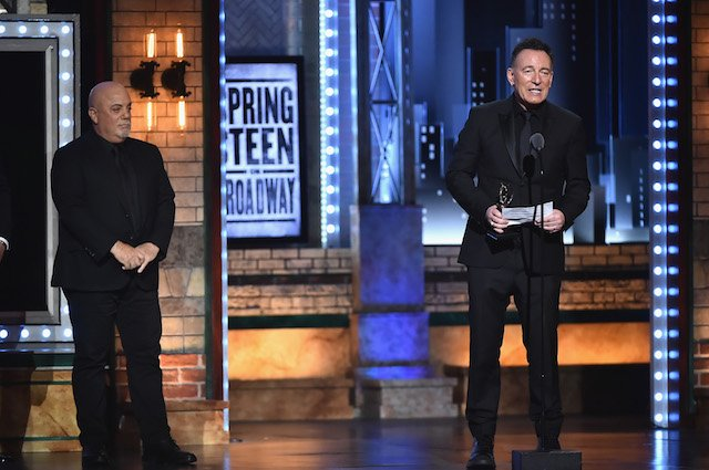 Bruce Springsteen (R) accepts a Special Tony Award from Billy Joel (L) onstage during the 72nd Annual Tony Awards at Radio City Music Hall on June 10, 2018 in New York City. (Photo by Theo Wargo/Getty Images for Tony Awards Productions)