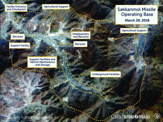 A satellite image of North Korea's Sakkanmol missile operating base. CSIS/Beyond Parallel via DigitalGlobe 2018