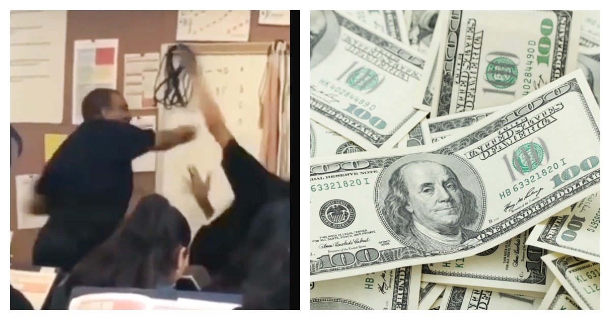 A colleague is raising funds for a teacher. Left, Screenshot/ YouTube via compton101/ Right, SHUTTERSTOCK/ evka119