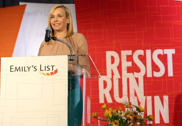 "Chelsea Handler speaks onstage at EMILY's List's ""Resist, Run, Win"" Pre-Oscars Brunch on February 27, 2018 in Los Angeles, California. (Photo by Rachel Murray/Getty Images for EMILY's List)"