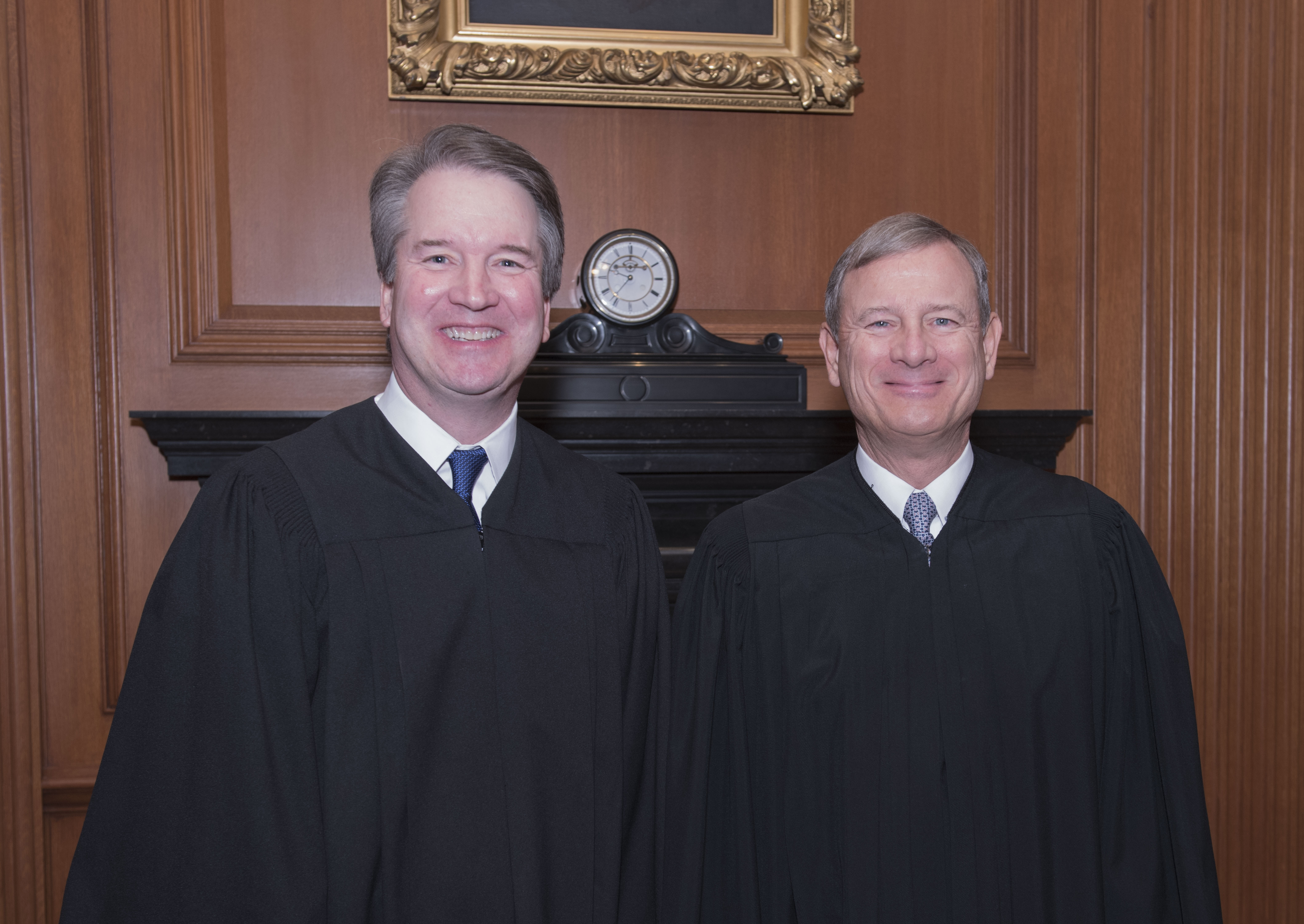 Justice Brett M. Kavanaugh and Chief Justice John G. Roberts, Jr. Credit: Fred Schilling, Collection of the Supreme Court of the United States.