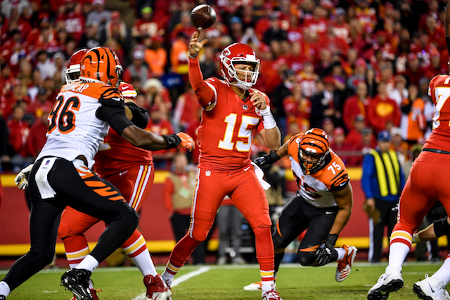 Patrick Mahomes #15 of the Kansas City Chiefs throws a pass during the first quarter of the game against the Cincinnati Bengals at Arrowhead Stadium on October 21, 2018 in Kansas City, Kansas. (Photo by Peter Aiken/Getty Images)
