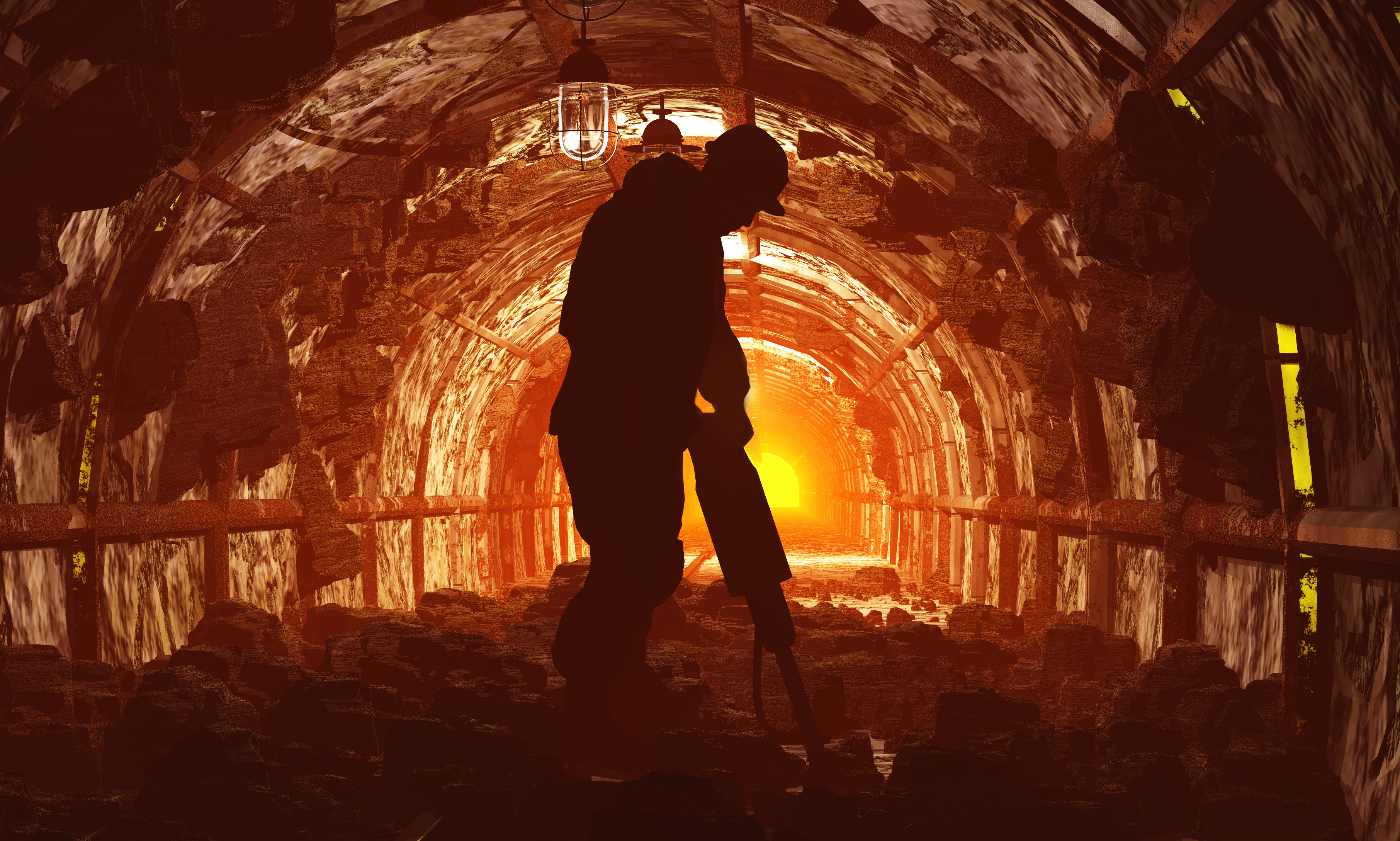 Coal Miner Shadow. Shutterstock