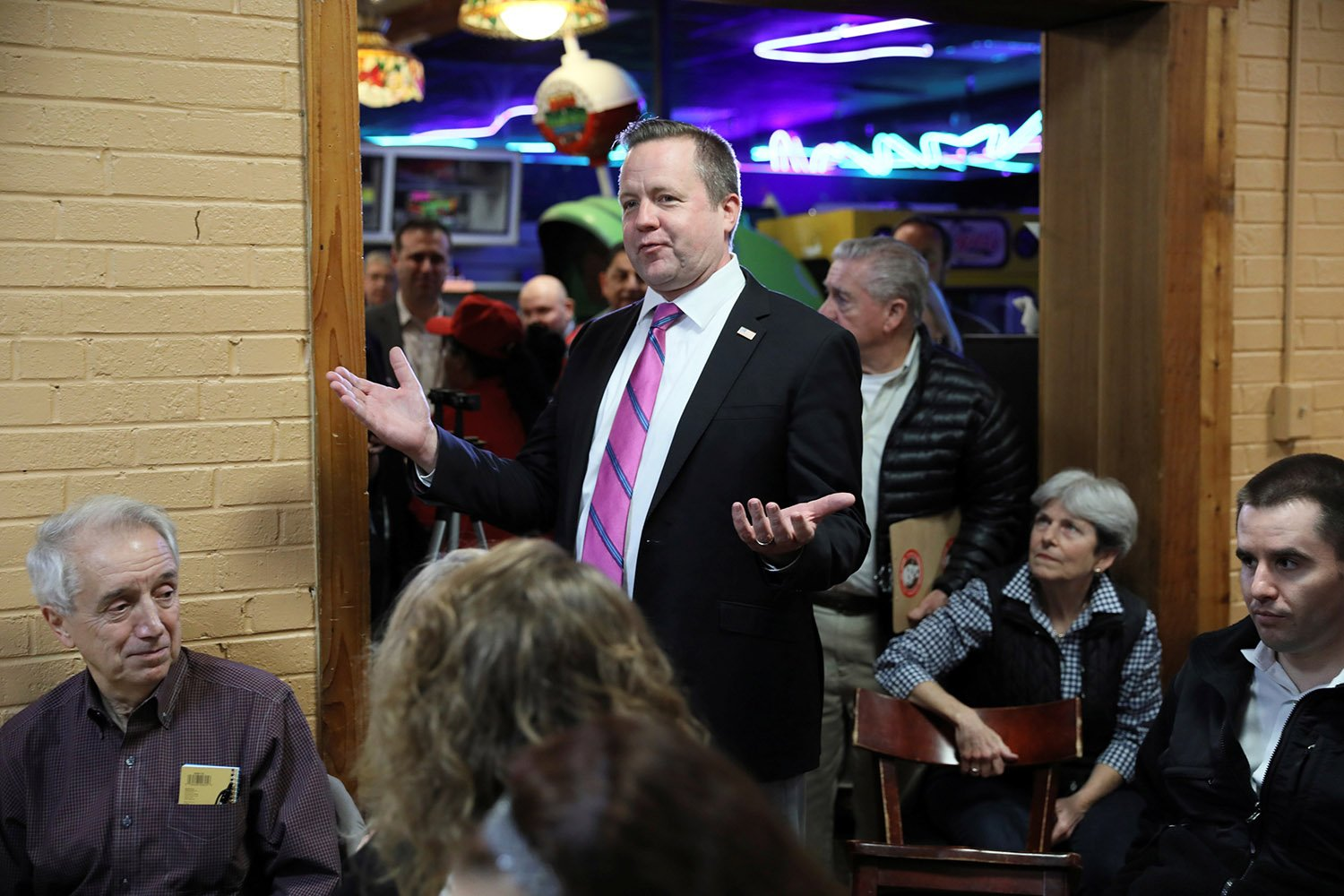 Virginia Republican candidate for U.S. Senate Corey Stewart arrives to speak to voters at a campaign event at a pizza parlor in Annandale, Virginia, U.S. October 30, 2018. REUTERS/Jonathan Ernst
