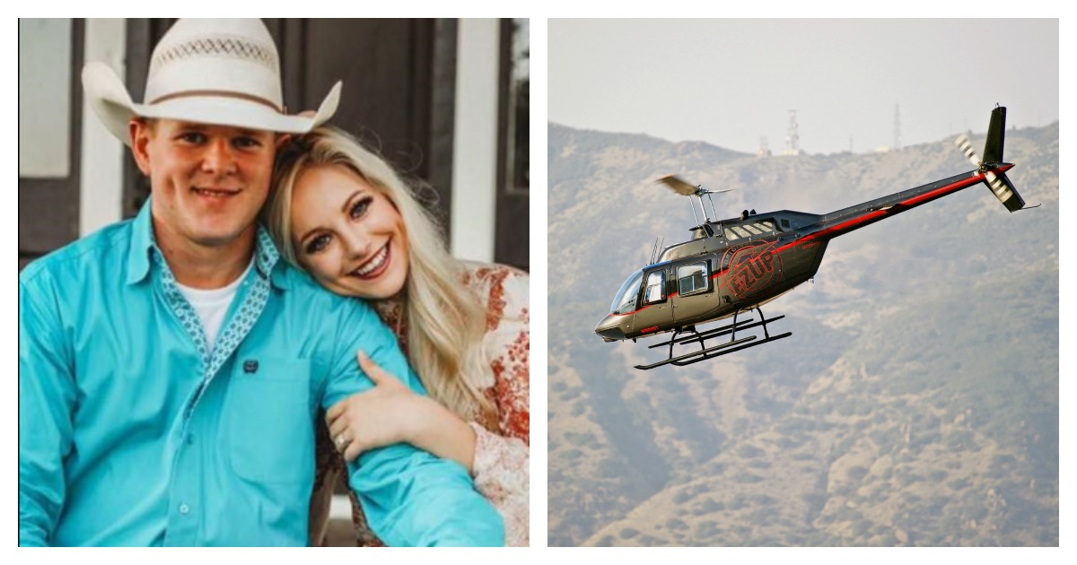 A couple died in a helicopter crash shortly after getting married. Left, Screenshot/Eric Smith/ Right, SHUTTERSTOCK/ Philip Pilosian