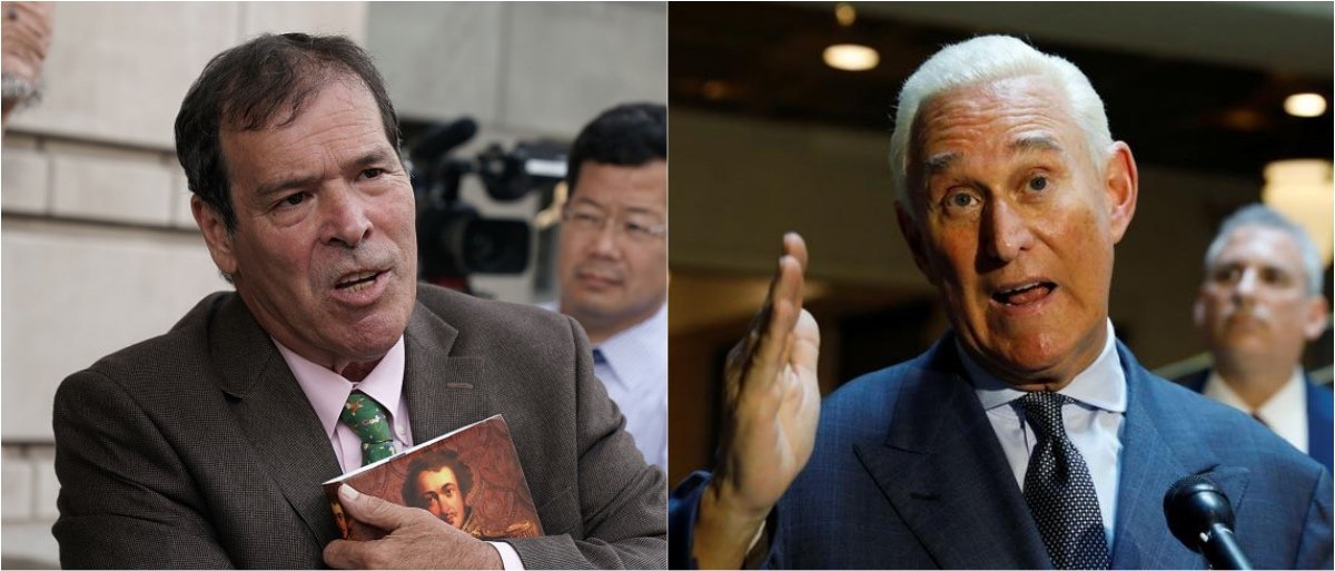 Randy Credico (left; Alex Wong/Getty Images) and Roger Stone (right; REUTERS/Kevin Lamarque)