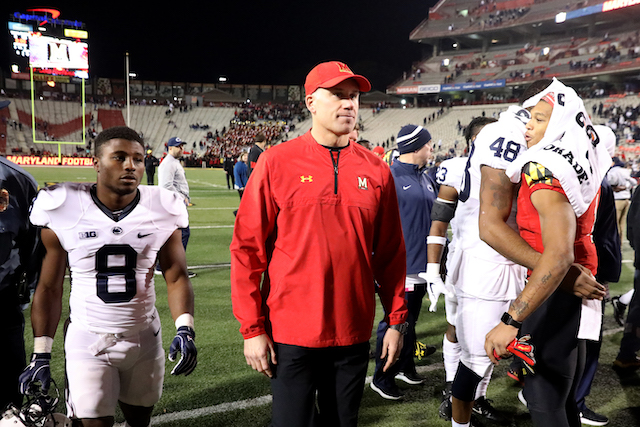 Head coach DJ Durkin of the Maryland Terrapins walks off the field following the Terrapins 66-3 loss to the Penn State Nittany Lions at Capital One Field on November 25, 2017 in College Park, Maryland. (Photo by Rob Carr/Getty Images)