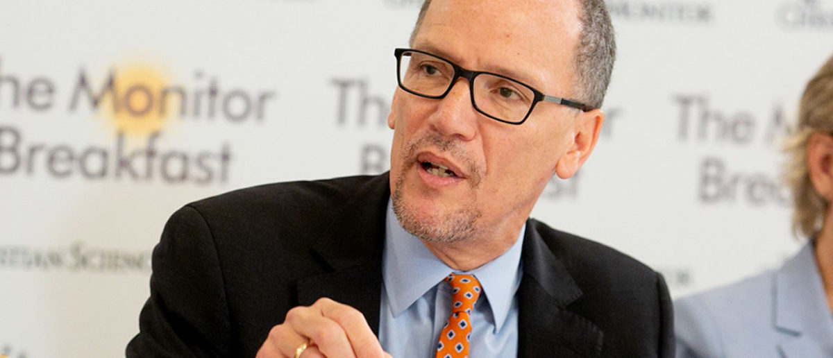 DNC Chairman Tom Perez Speaks To Reporters At A Breakfast On Nov. 8 (Photo Credit: Michael Bonfigli:The Christian Science Monitor)
