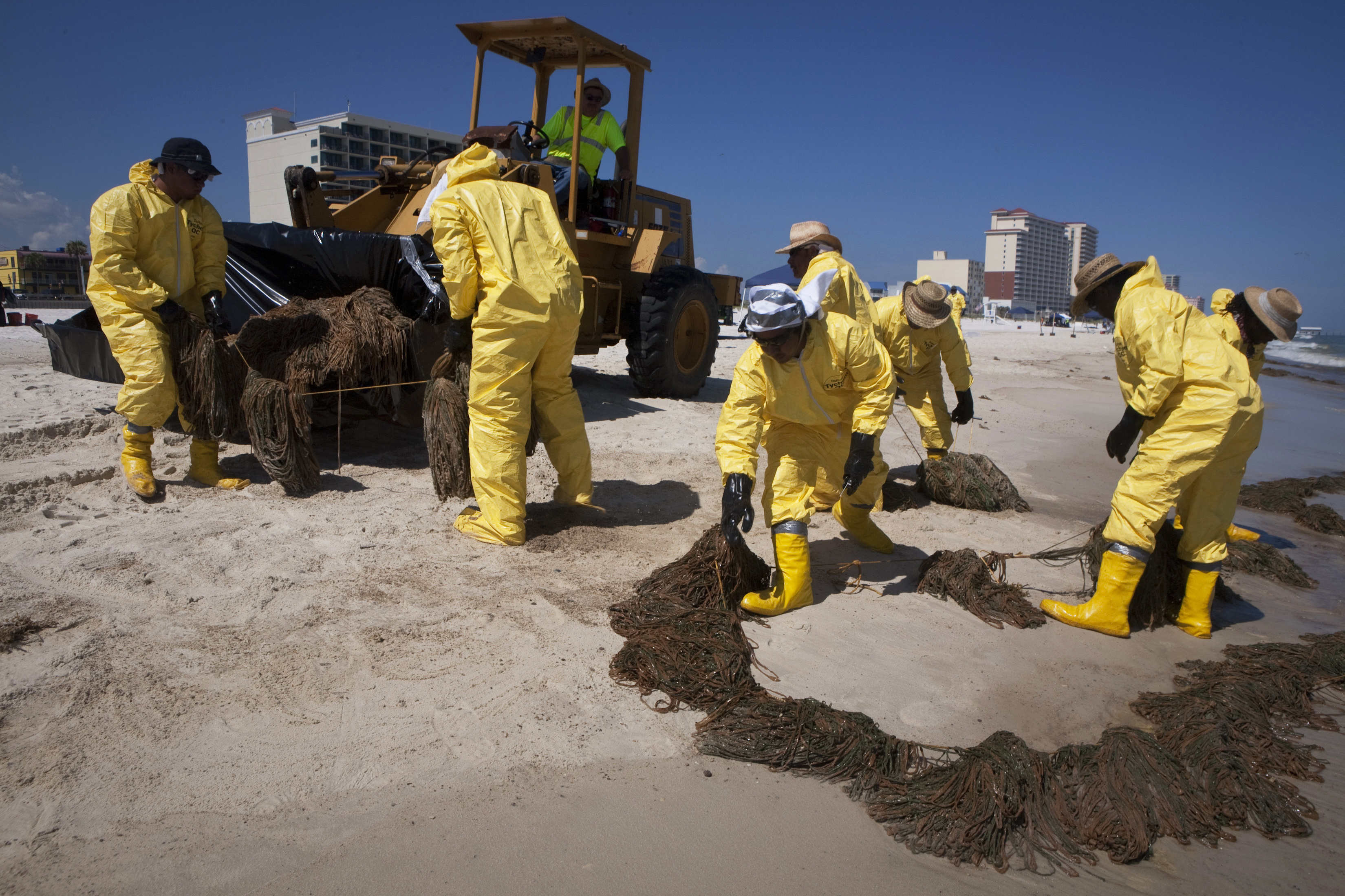 A clean-up crew collects booms soaked with oil from the Deepwater Horizon spill on a beach in Gulf Shores, Alabama, in this June 25, 2010 file photo. Clean-up workers say they're paid about $1000 per week after taxes, while boat operators can make over $1200, a lucrative, albeit short-term proposition. REUTERS/Lee Celano