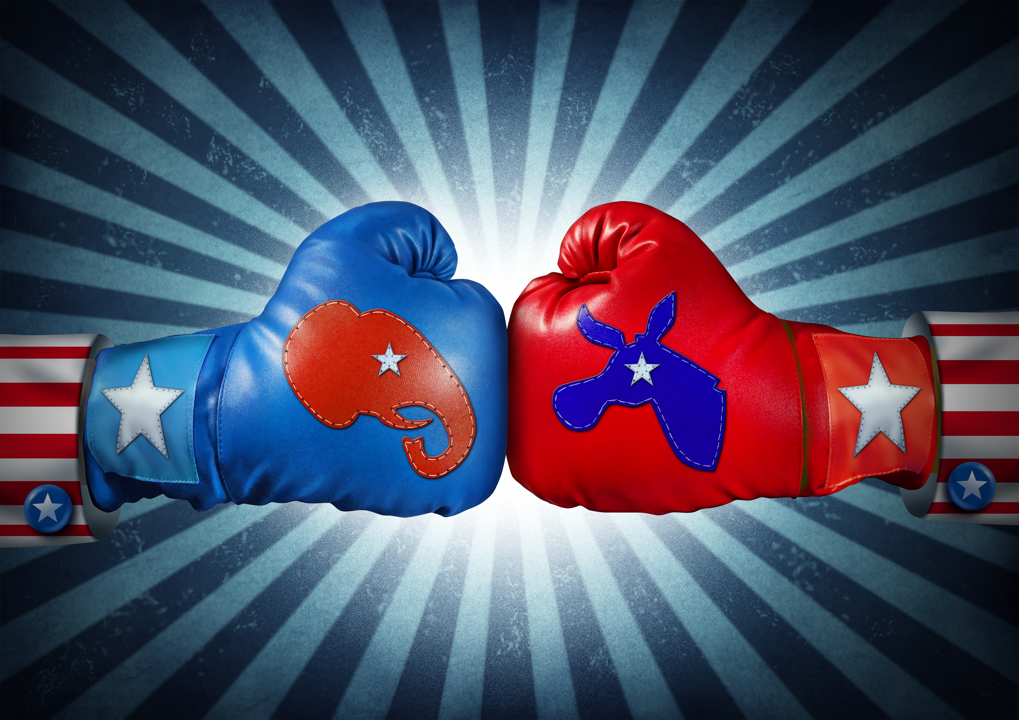 Pictured are boxing gloves representing the Democratic and Republican parties. SHUTTERSTOCK/ Lightspring