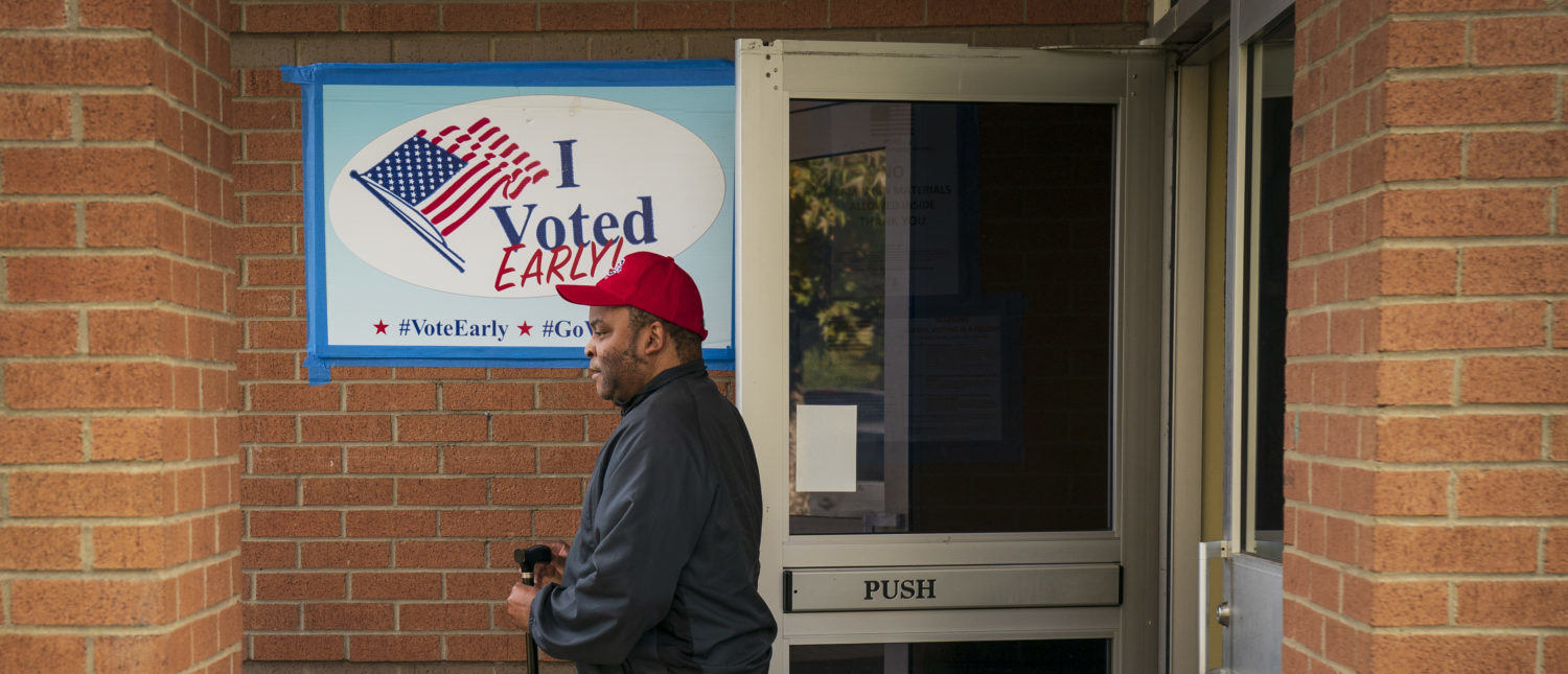 NASHVILLE, TN - OCTOBER 30: A voter exits a polling place during early voting at the Bordeaux Branch of the Nashville Public Library, October 30, 2018 in Nashville, Tennessee. Bredesen, a former governor of Tennessee, is running in a tight race against U.S. Rep. Marsha Blackburn (R-TN) to fill the seat left open by Sen. Bob Corker (R-TN), who opted not to seek reelection. (Photo by Drew Angerer/Getty Images)