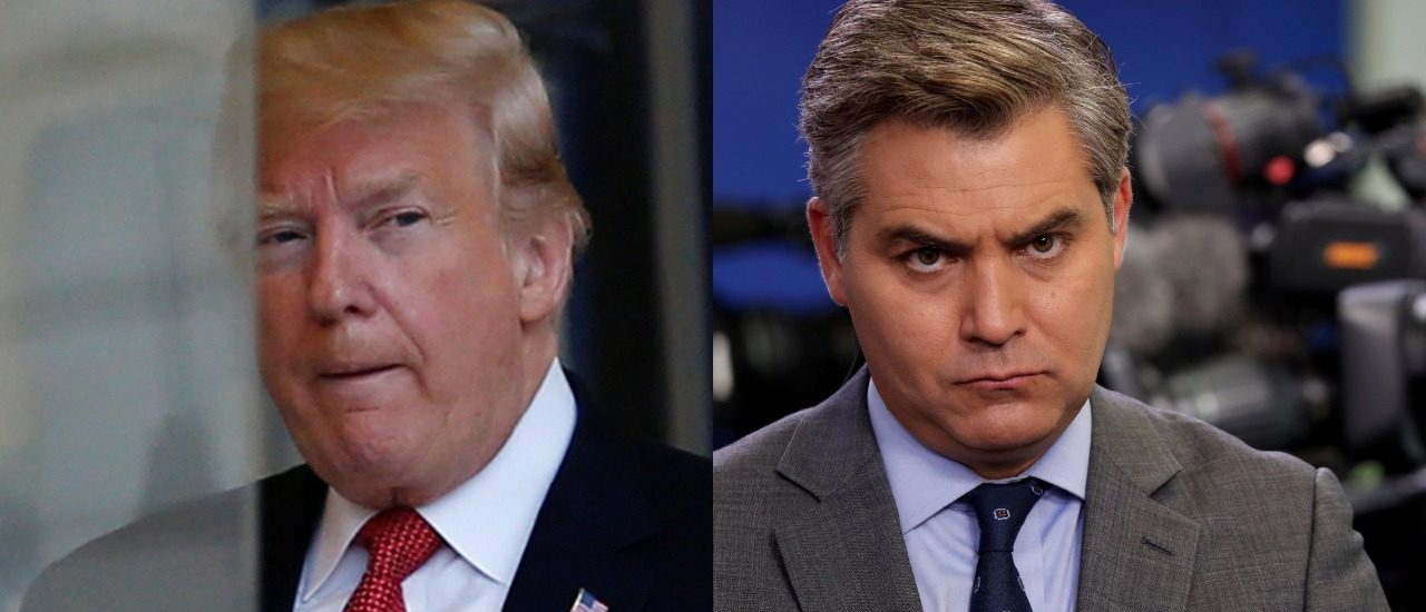LEFT: President Donald Trump is seen at the Elysee Palace on the eve of the commemoration ceremony for Armistice Day, 100 years after the end of the First World War, in Paris, November 10, 2018. REUTERS/Vincent Kessler. RIGHT: CNN White House correspondent Jim Acosta attends a press briefing at the White House in Washington, D.C., August 2, 2018. REUTERS/Carlos Barria/File Photo