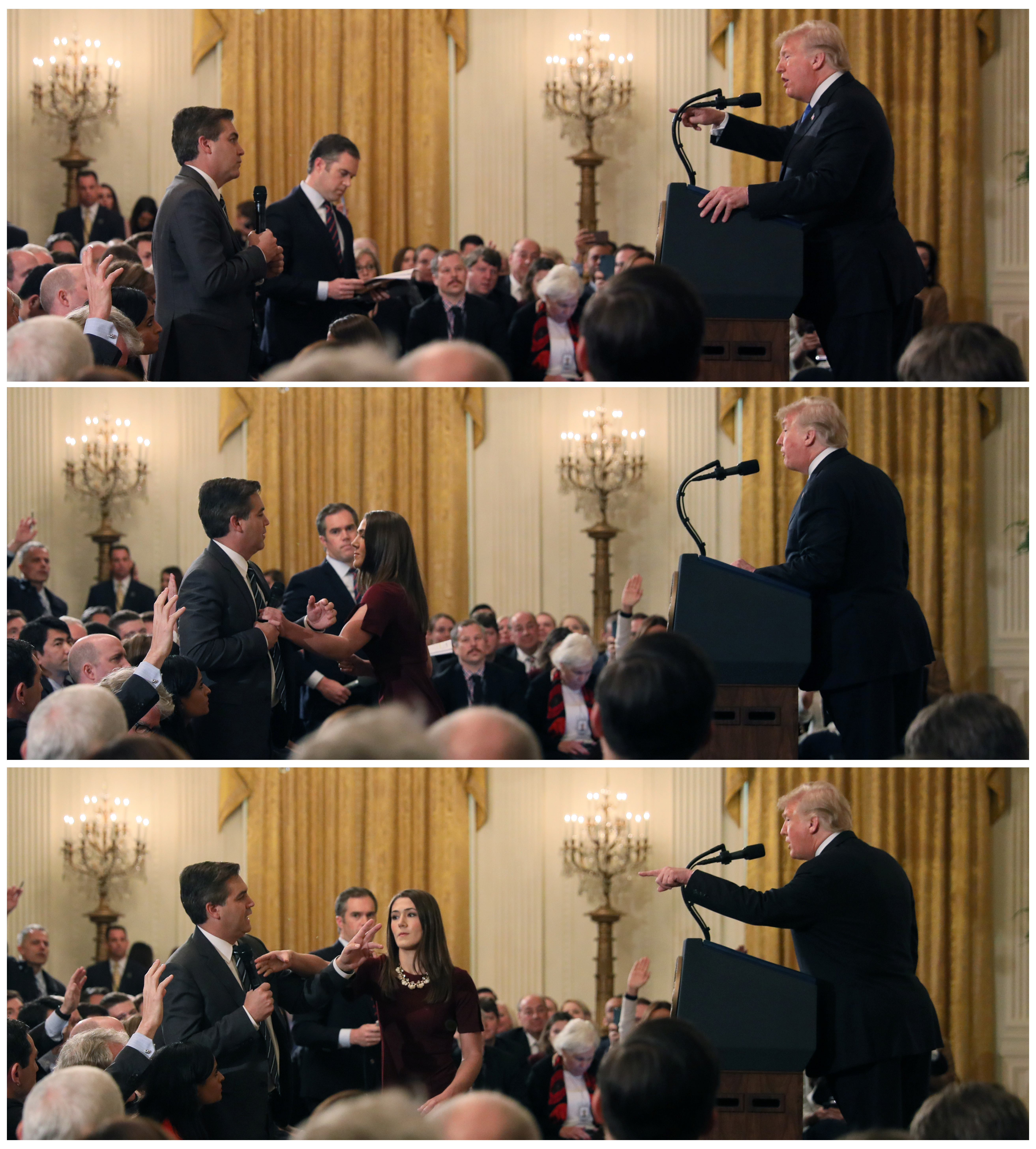 A White House staff member reaches for the microphone held by CNN's Jim Acosta as he questions President Donald Trump during a news conference following Tuesday's midterm U.S. congressional elections, in a combination of photos at the White House in Washington, November 7, 2018. REUTERS/Jonathan Ernst