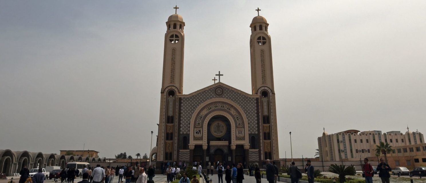 A general views shows the Monastery of Marmina in the city of Borg El-Arab, east of Alexandria on April 10, 2017, as mourners attend the funeral of victims of the blast at the Coptic Christian Saint Mark's church in Alexandria the previous day. Egypt prepared to impose a state of emergency after jihadist bombings killed dozens at two churches in the deadliest attacks in recent memory on the country's Coptic Christian minority. (MOHAMED EL-SHAHED/AFP/Getty Images)