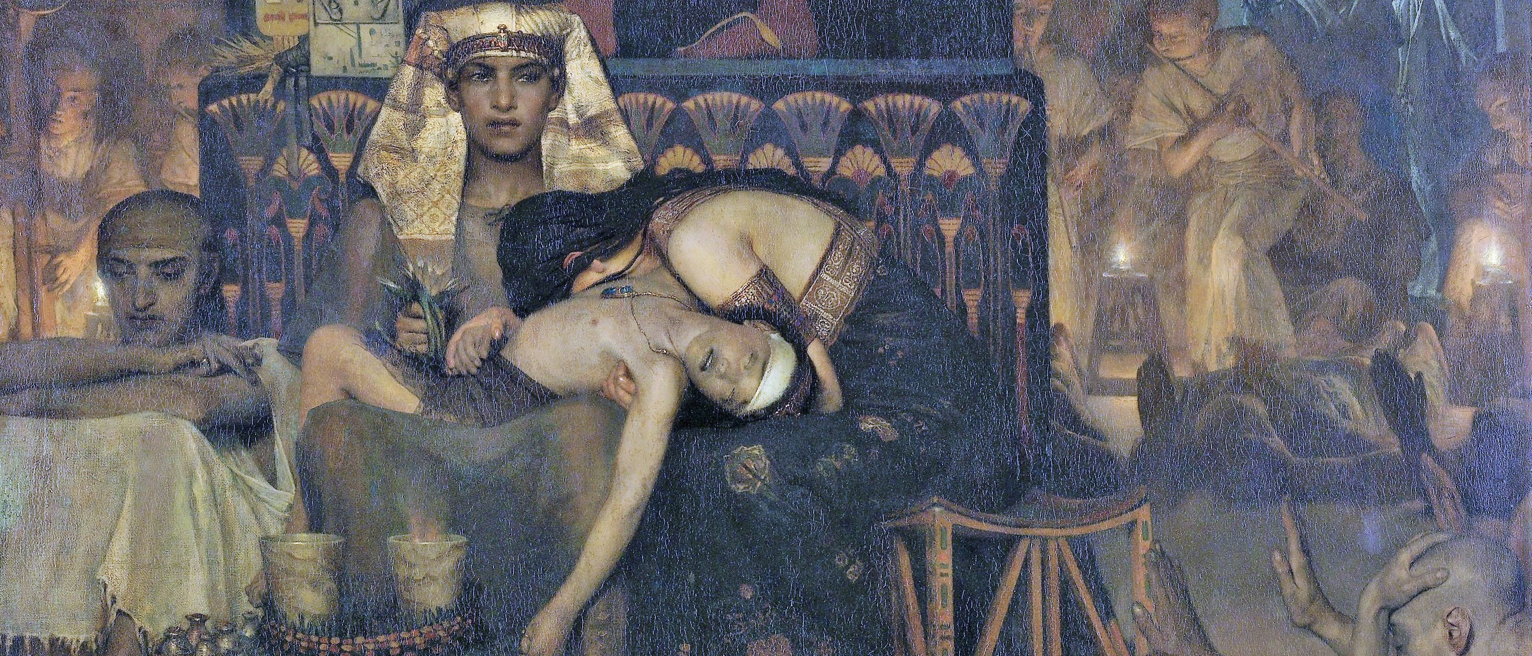 Death of the Pharaoh's Firstborn Son, by Lawrence Alma Tadema, 1872, English painting oil on canvas. Moses and Aaron. Everett - Art/Shutterstock