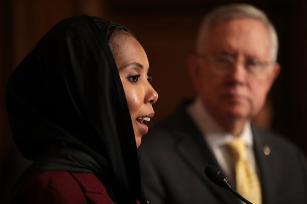 "WASHINGTON, DC - SEPTEMBER 22: Safe Hands for Girls founder Jaha Dukureh (L) joins Senate Minority Leader Harry Reid (R-NV) for a news conference at the U.S. Capitol September 22, 2016 in Washington, DC. A long-time opponent to female genital mutilation (FGM), Reid addressed a Government Accountability Office report regarding ""how the U.S. government addresses FGM at home and abroad. (Photo by Chip Somodevilla/Getty Images)"