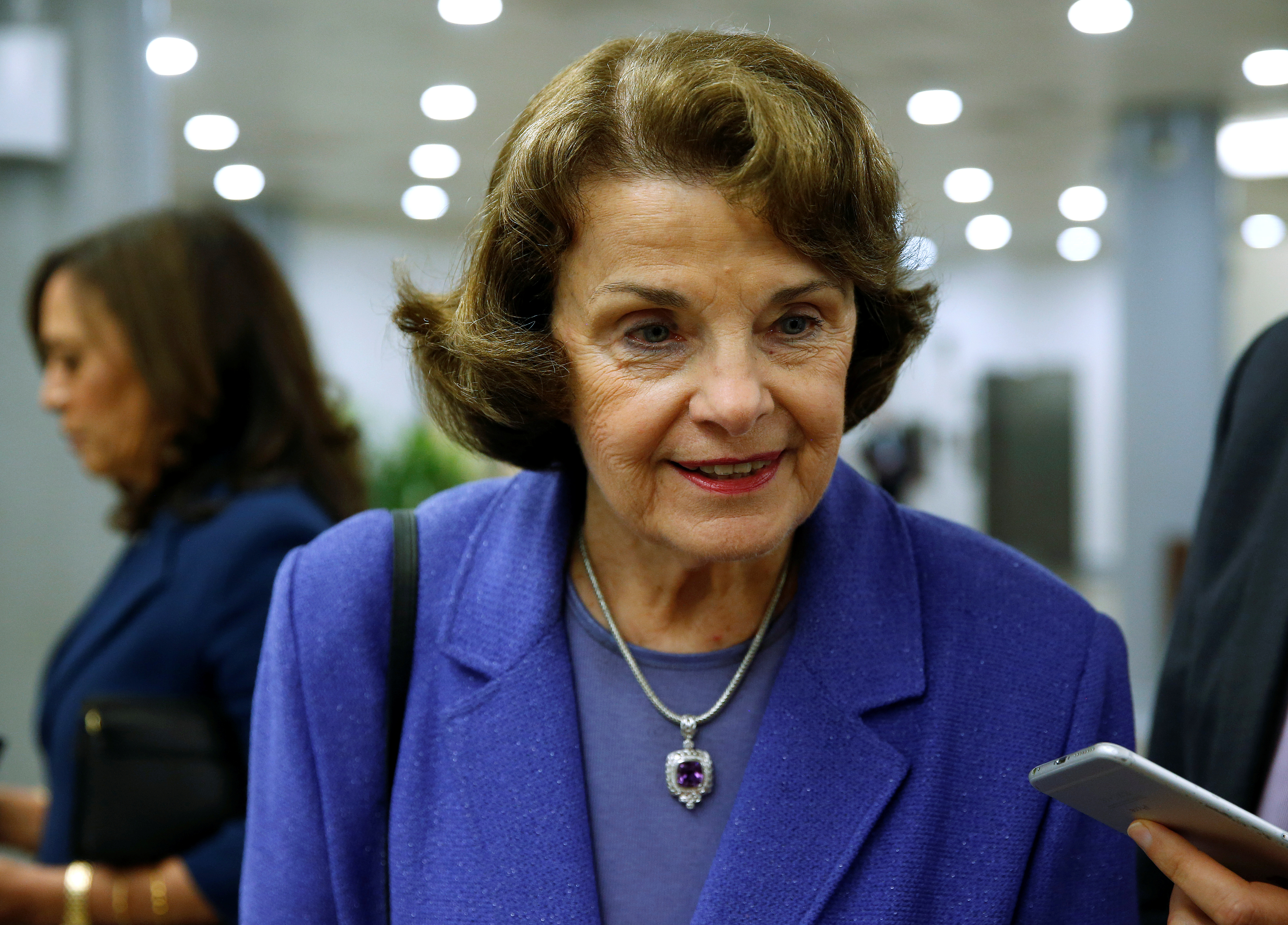 Sen. Dianne Feinstein (D-CA) speaks to reporters after the Senate approved $15.25 billion in aid for areas affected by Hurricane Harvey along with measures that would fund the federal government and raise its borrowing limit on Capitol Hill in Washington, U.S., September 7, 2017. REUTERS/Joshua Roberts