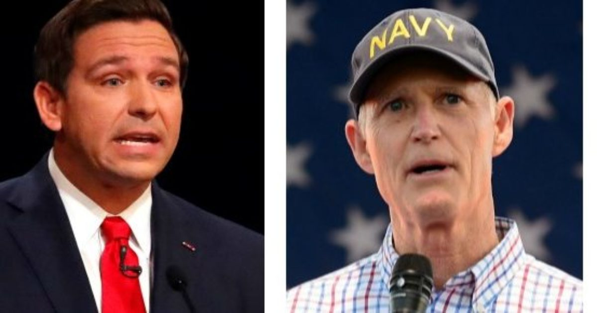 LEFT: Republican Ron DeSantis makes a point during his debate with Democrat Andrew Gillum at Broward College October 24, 2018 in Davie, Florida. (Wilfredo Lee-Pool/Getty Images) RIGHT: Florida Governor Rick Scott speaks during the Westgate Resorts Military Weekend 2018 at Westgate Vacation Villas & Town Center Resort on May 4, 2018 in Kissimmee, Florida. (Gerardo Mora/Getty Images for Westgate Resorts)