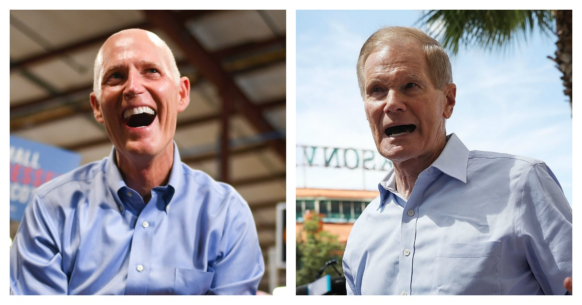LEFT: Florida Senate candidate Rick Scott, attends a Get Out the Vote Rally at Skyline Attractions on November 2, 2018 in Orlando,Florida. (Jeff J Mitchell/Getty Images) RIGHT: Sen. Bill Nelson (D-FL) speaks to the media as he visits the Jacksonville Landing where a shooting occured in the GLHF Game Bar on August 27, 2018 in Jacksonville, Florida. (Joe Raedle/Getty Images)