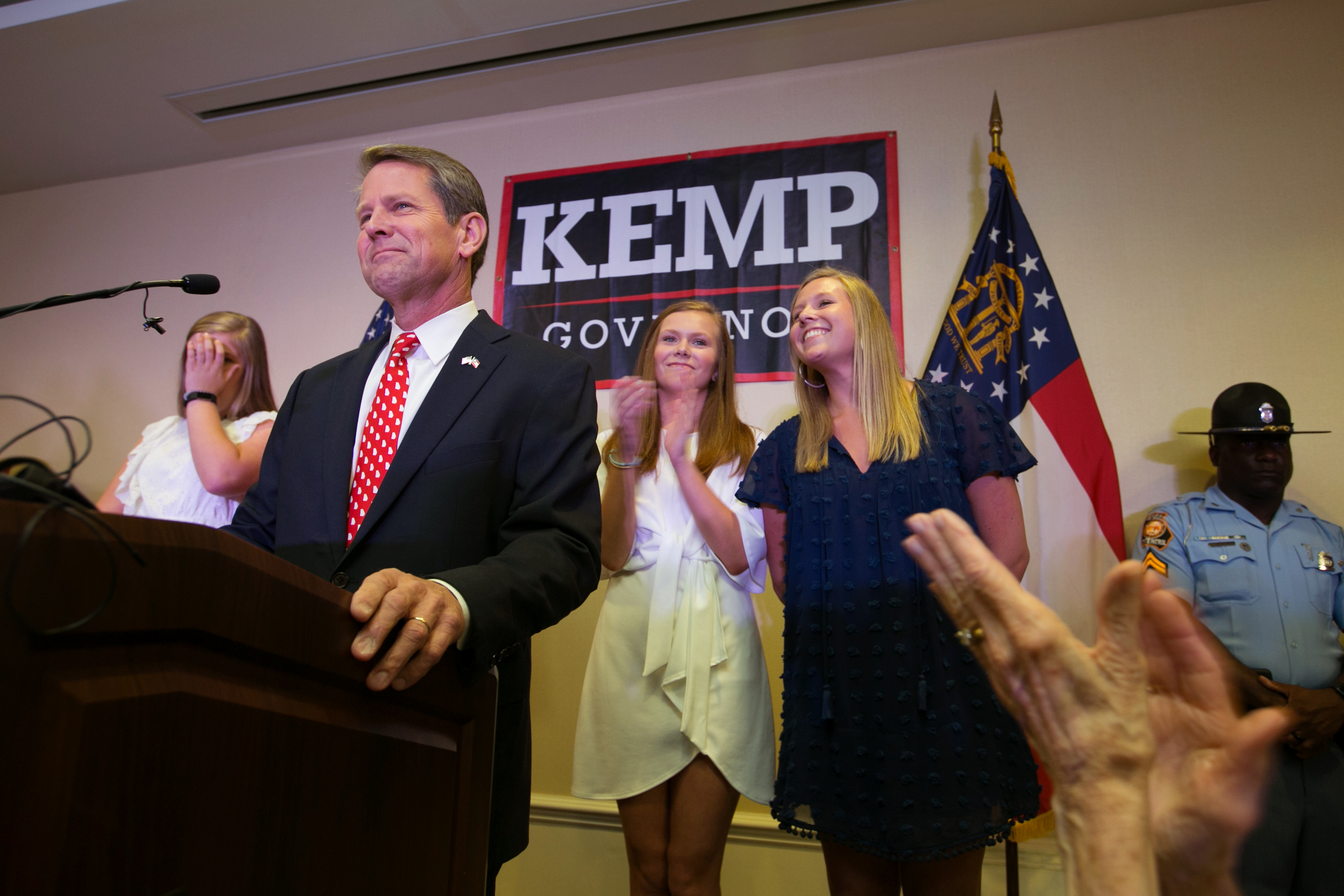 Secretary of State Brian Kemp addresses the audience and declares victory during an election watch party on July 24, 2018 in Athens, Georgia. Jessica McGowan/Getty Images