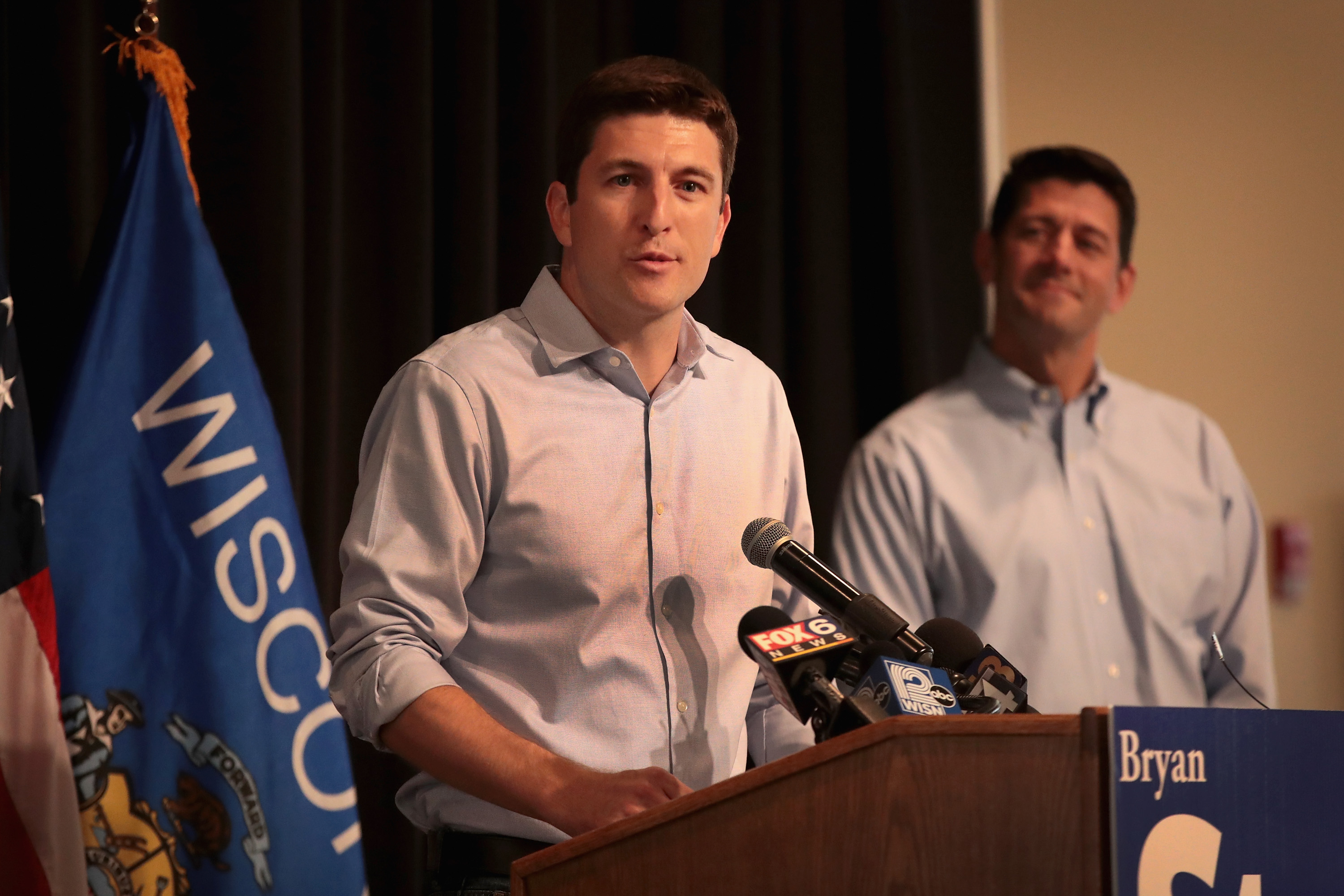 BURLINGTON, WI - AUGUST 13: Speaker of the House Paul Ryan (R) campaigns with Republican congressional candidate Bryan Steil (L) at a rally on August 13, 2018 in Burlington, Wisconsin. Ryan has endorsed Steil in the GOP primary which will be held tomorrow. Steil is running for Ryan's seat in the House. (Photo by Scott Olson/Getty Images)