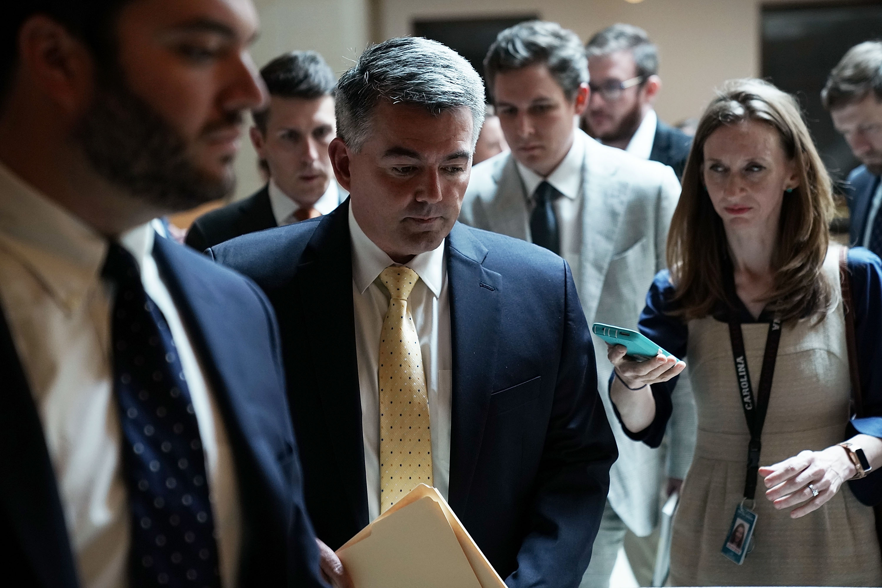 U.S. Sen. Cory Gardner arrives at the U.S. Capitol for a closed briefing August 22, 2018 in Washington, DC. Alex Wong/Getty Images