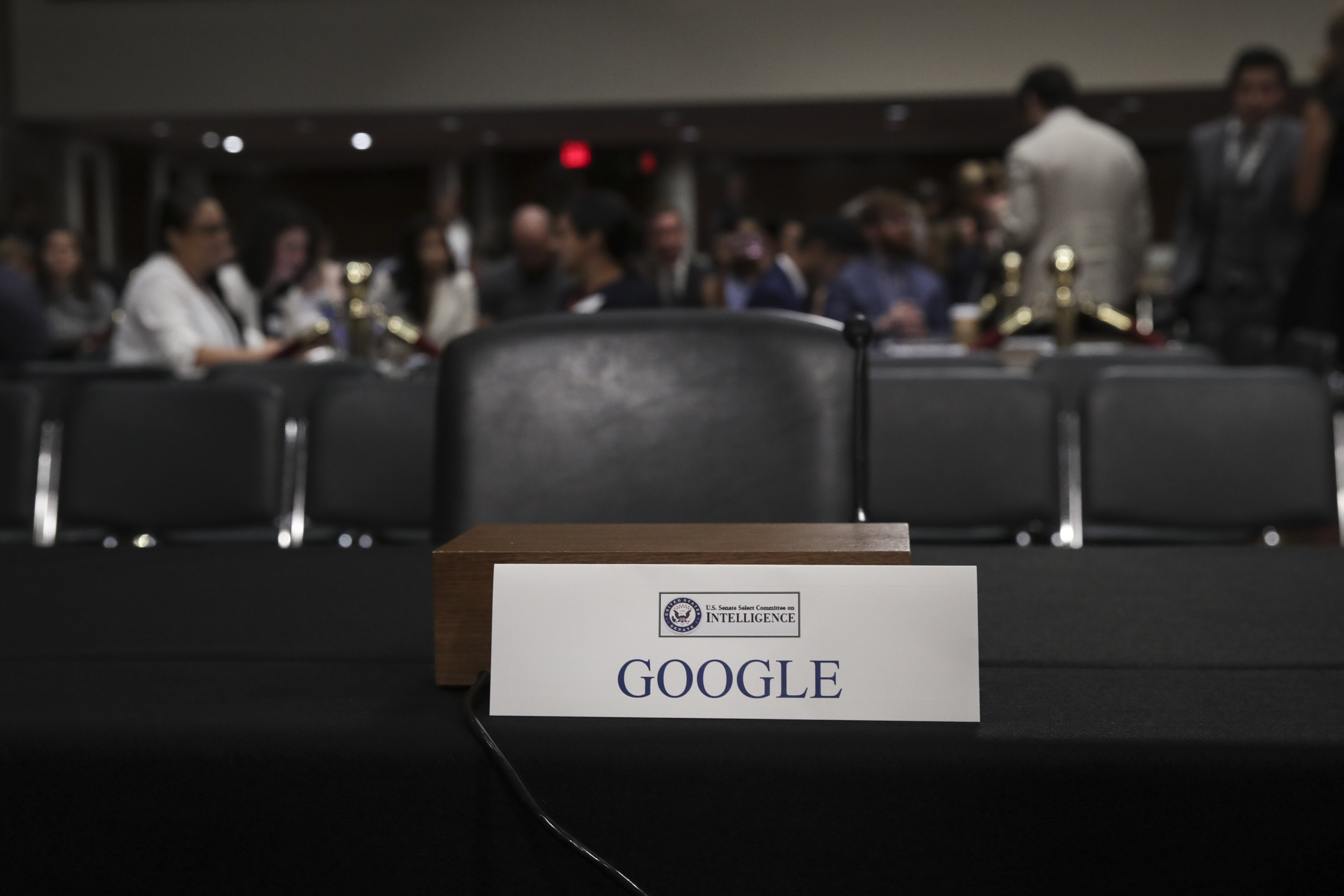 An empty seat for Google is seen during a Senate Intelligence Committee hearing concerning foreign influence operations' use of social media platforms, on Capitol Hill, September 5, 2018 in Washington, DC. (Photo by Drew Angerer/Getty Images)
