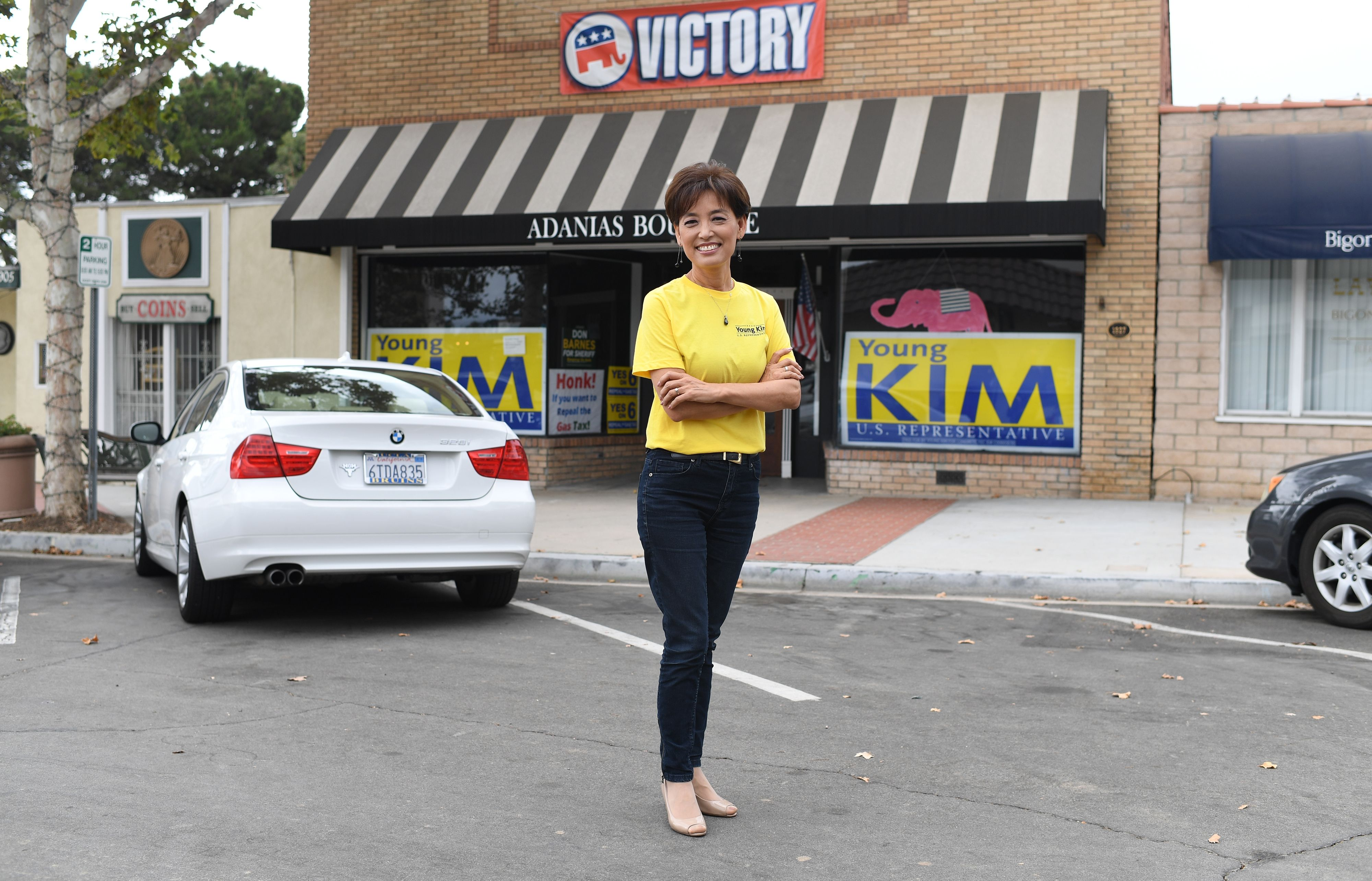 First time Republican candidate for US Congress Young Kim, 55, poses for a portrait at her campaign office in Yorba Linda, California, October 6, 2018. - Kim, who immigrated to the US from her birth country of South Korea in 1975, would be the first Korean-American woman elected to the US House of Representatives if she defeats her Democratic opponent Gil Cisneros in the Midterm elections race for the open seat in California's 39th Congressional District which includes parts of Los Angeles, Orange, and San Bernardino counties. (Photo by Robyn Beck / AFP) (Photo credit should read ROBYN BECK/AFP/Getty Images)