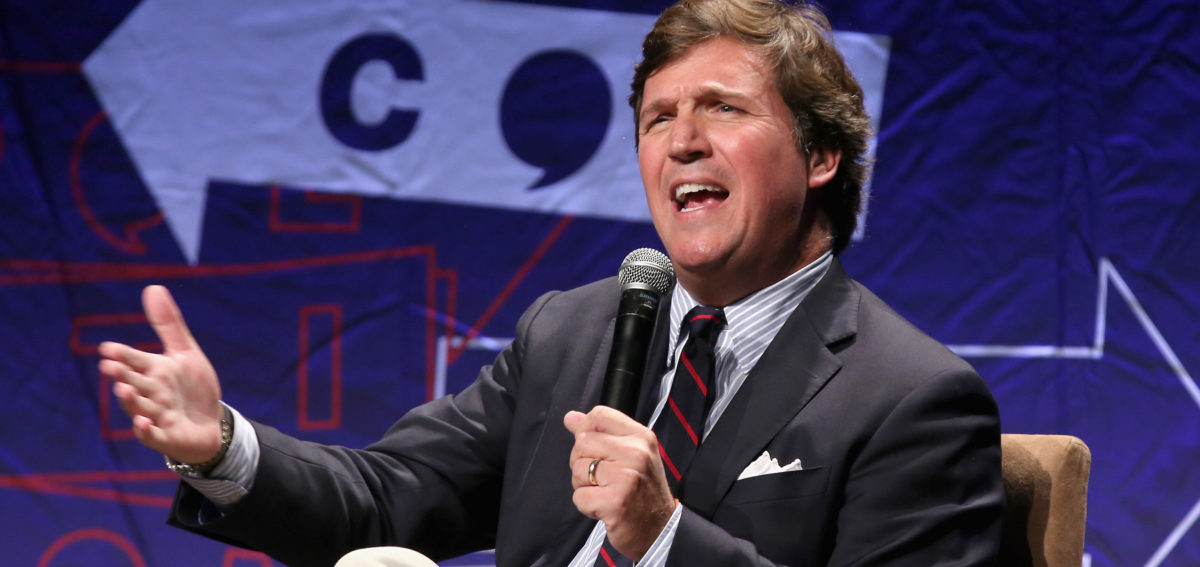 Tucker Carlson speaks onstage during Politicon 2018 at Los Angeles Convention Center on Oct. 21, 2018 in Los Angeles, California. (Photo by Phillip Faraone/Getty Images for Politicon)