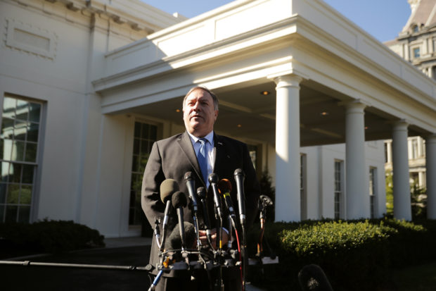 WASHINGTON, DC - OCTOBER 18: U.S. Secretary of State Mike Pompeo talks to journalists following a meeting with President Donald Trump at the White House October 18, 2018 in Washington, DC. Pompeo briefed Trump about his trip to Saudi Arabia and Turkey to talk to leaders there about the disappearance of Saudi dissident and Washington Post columnist Jamal Khashoggi. (Photo by Chip Somodevilla/Getty Images)