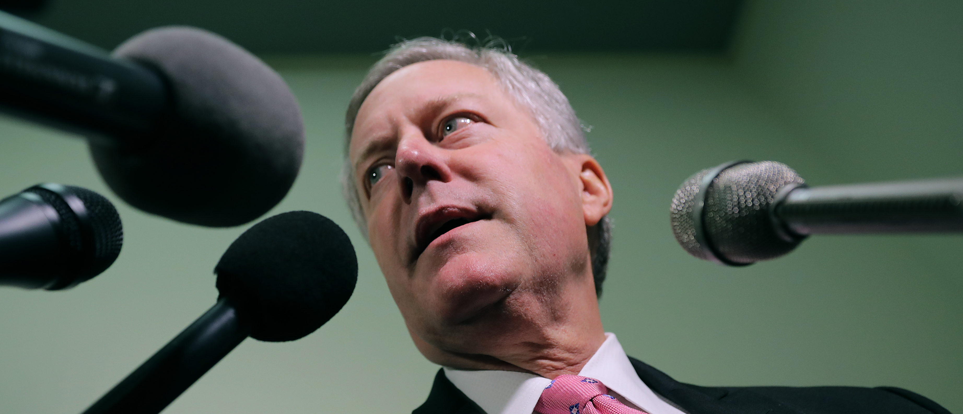House Oversight and Government Reform Committee member Rep. Mark Meadows (R-NC) talks with reporters in the Rayburn House Office Building on Capitol Hill October 19, 2018 in Washington, DC. Chip Somodevilla/Getty Images