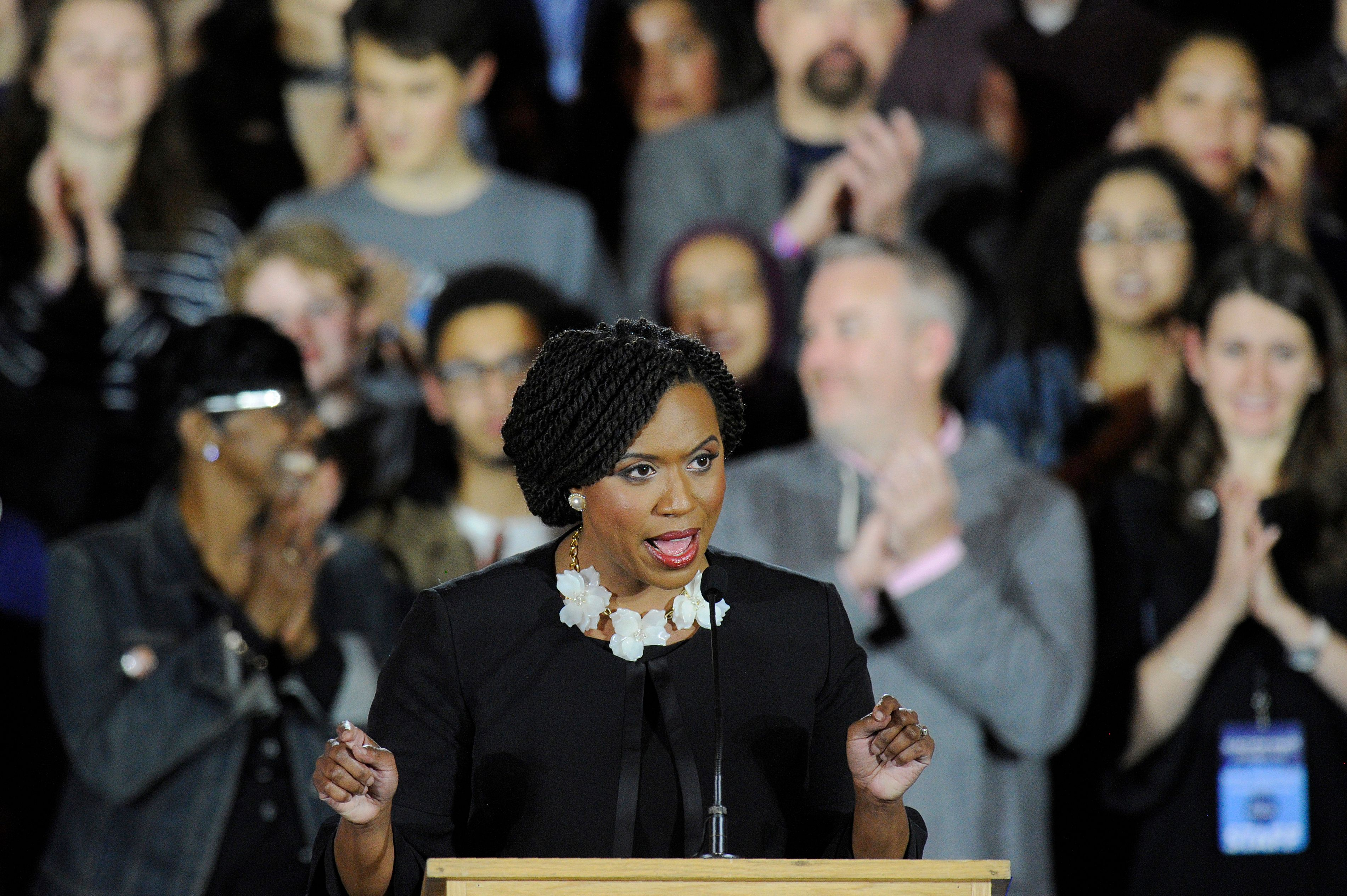 Congresswoman-elect Ayanna Pressley addresses the audience during the Election Day Massachusetts Democratic Coordinated Campaign Election Night Celebration at the Fairmont Copley Hotel in Boston, Massachusetts on November 6, 2018. JOSEPH PREZIOSO/AFP/Getty Images
