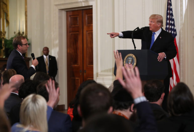 President Donald Trump answers questions after giving remarks a day after the midterm elections on November 7, 2018 in the East Room of the White House in Washington, DC. Republicans kept the Senate majority but lost control of the House to the Democrats. (Photo by Mark Wilson/Getty Images)