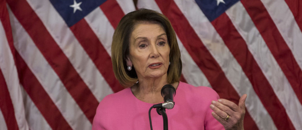 WASHINGTON, DC - NOVEMBER 07: House Minority Leader Nancy Pelosi (D-CA) holds a news conference following the 2018 midterm elections at the Capitol Building on November 7, 2018 in Washington, DC. Republicans kept the Senate majority but lost control of the House to the Democrats. (Photo by Zach Gibson/Getty Images)