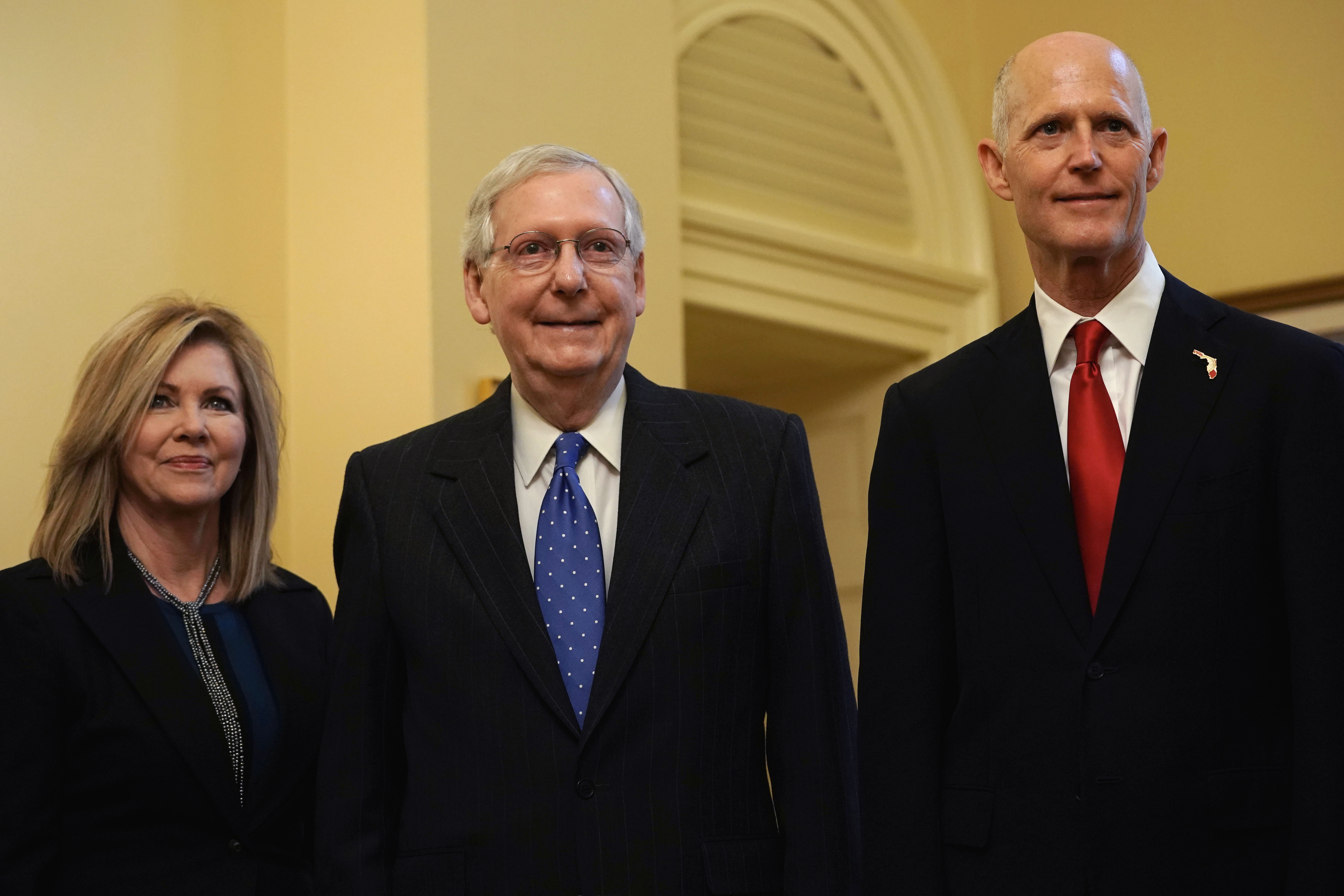 U.S. Senate Majority Leader Sen. Mitch McConnell (C) poses for photos with Republican Tennessee Senator-elect Marsha Blackburn (L) and Republican U.S. Senate candidate for Florida and incumbent Florida Gov. Rick Scott (R) at the U.S. Capitol November 14, 2018 in Washington, DC. Alex Wong/Getty Images