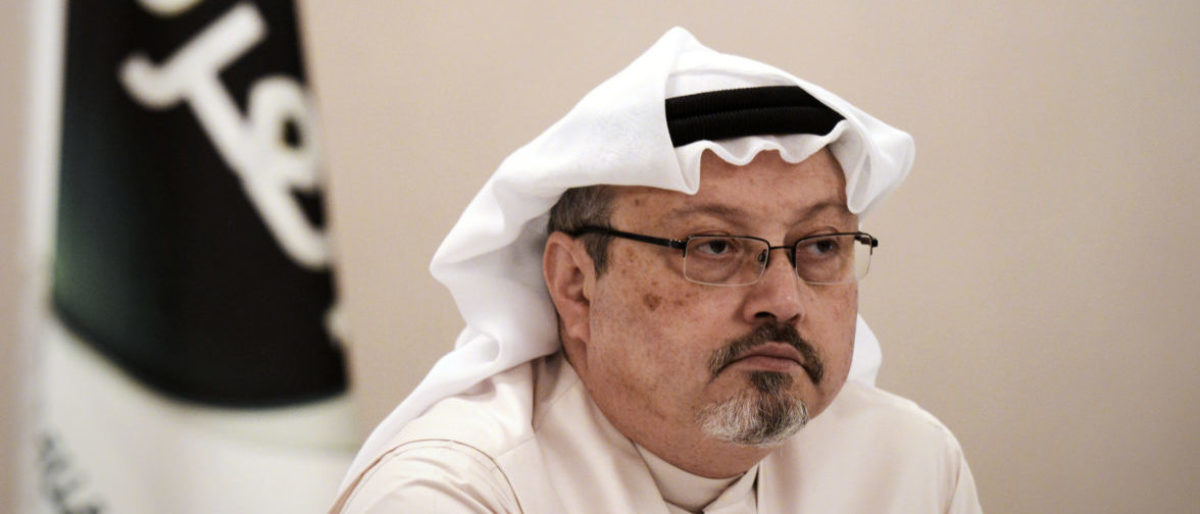 """A general manager of Alarab TV, Jamal Khashoggi, looks on during a press conference in the Bahraini capital Manama, on December 15, 2014. The pan-Arab satellite news broadcaster owned by billionaire Saudi businessman Alwaleed bin Talal will go on air February 1, promising to """"break the mould"""" in a crowded field.AFP PHOTO/ MOHAMMED AL-SHAIKH (Photo by MOHAMMED AL-SHAIKH / AFP)"""