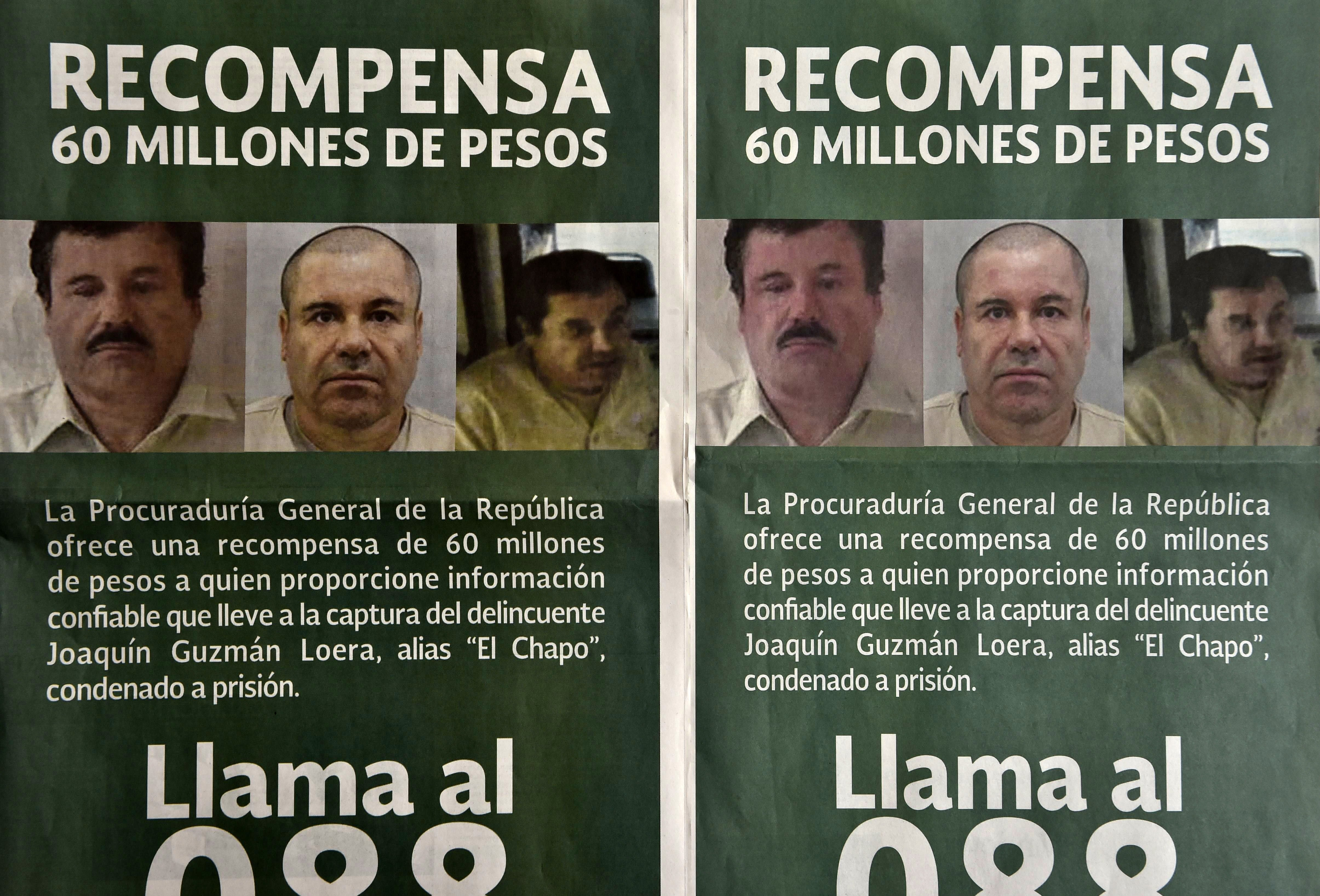 "Photo of notices published in newspapers offering 60 million Mexican pesos (3.8 USD approximately) reward to anyone with information leading to the recapture of Joaquin ""El Chapo"" Guzman Loera in Mexico City on July 16, 2015. YURI CORTEZ/AFP/Getty Images"